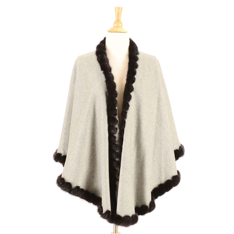 Women's Loro Piana Italian Cashmere Knit and Mink Fur Shawl