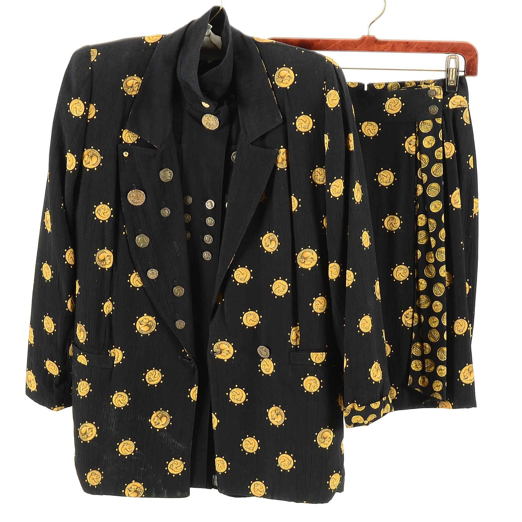Women's Vintage Coin Skirt Suit from Platinum by Dorothy Schoelen