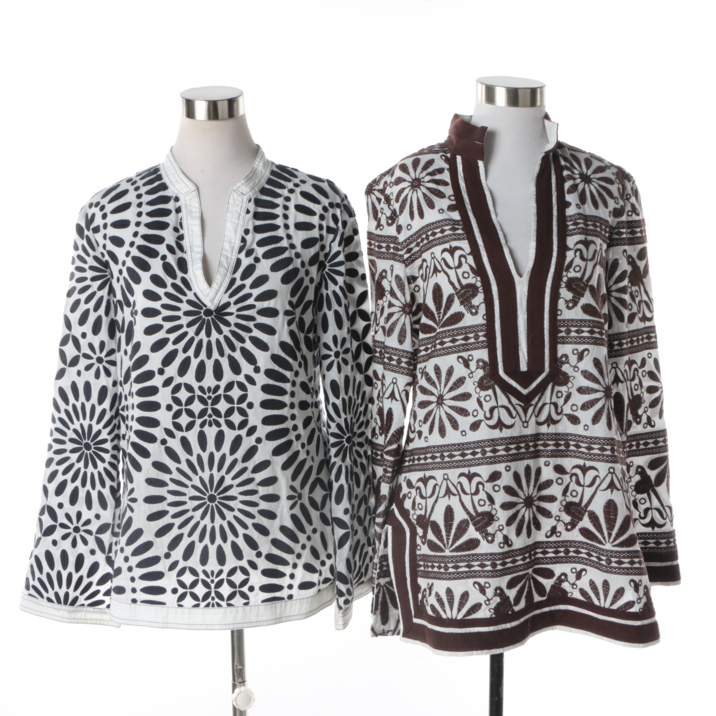 Women's Tory Burch Embroidered Cotton Tunics