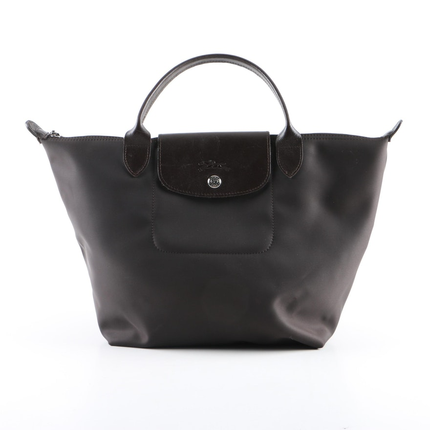 5e660b877d Longchamp Modele Depose Dark Brown Nylon and Leather Mini Tote : EBTH