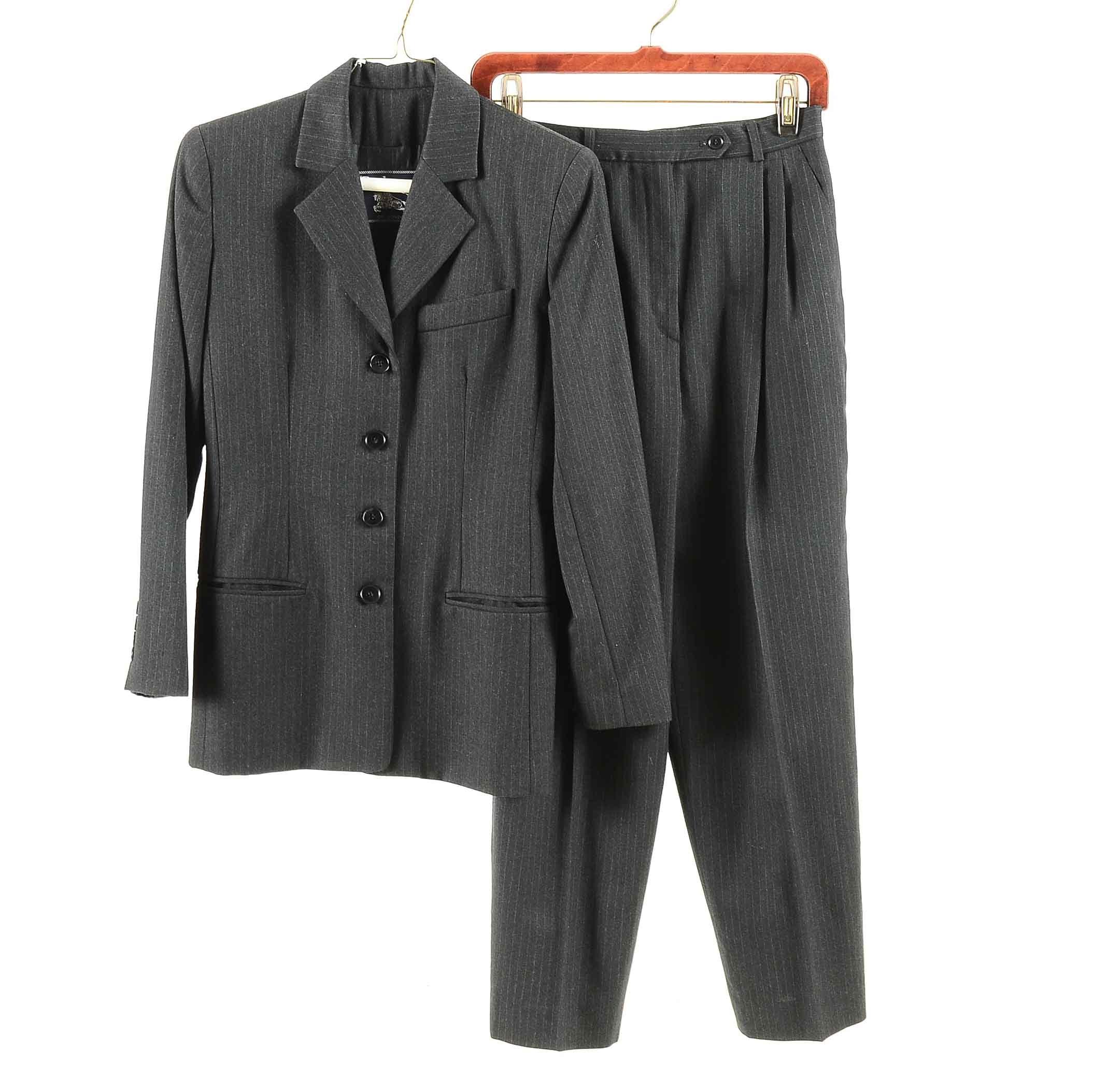 Women's Burberrys of London Grey Wool Pinstripe Suit