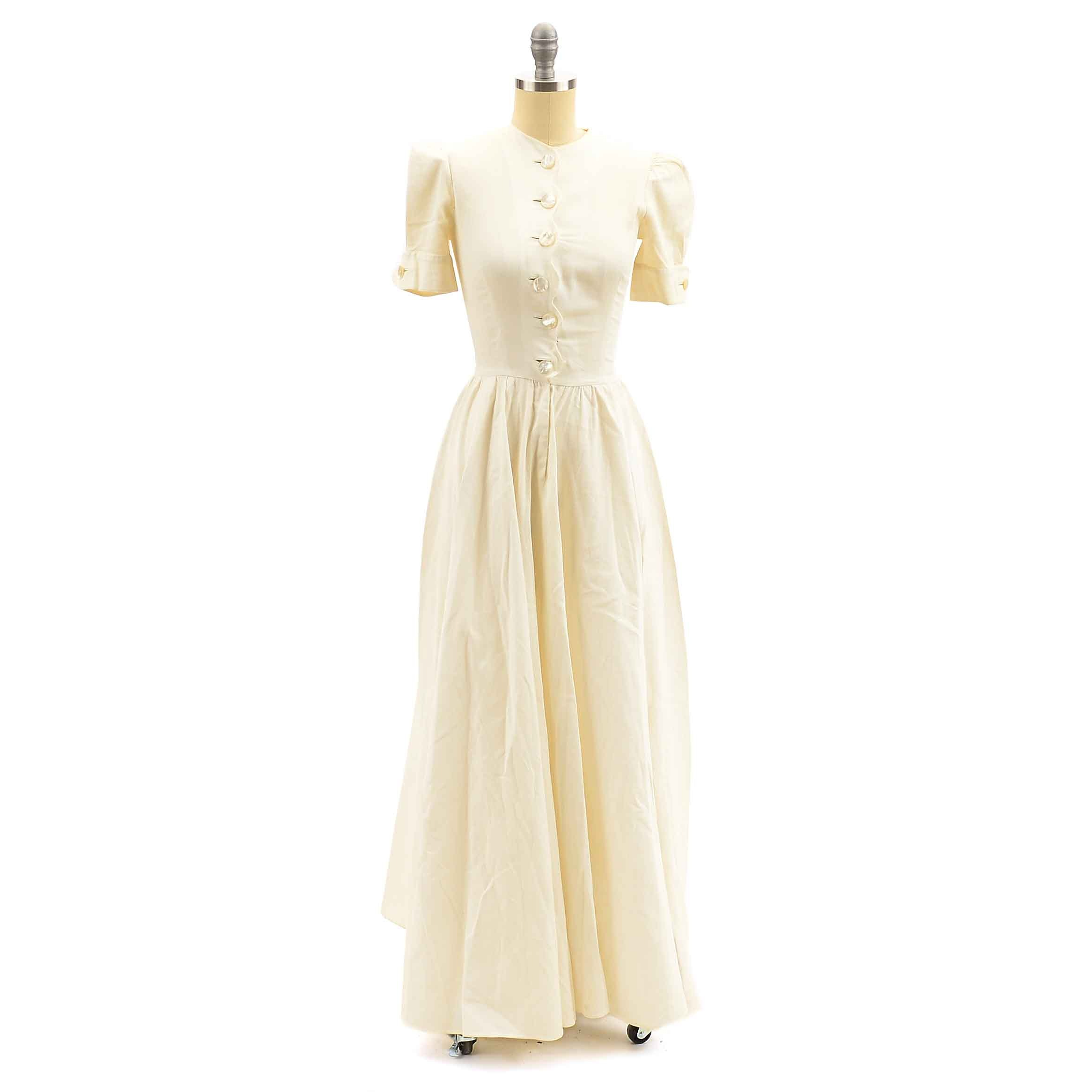 Vintage Ivory Button-Front Dress
