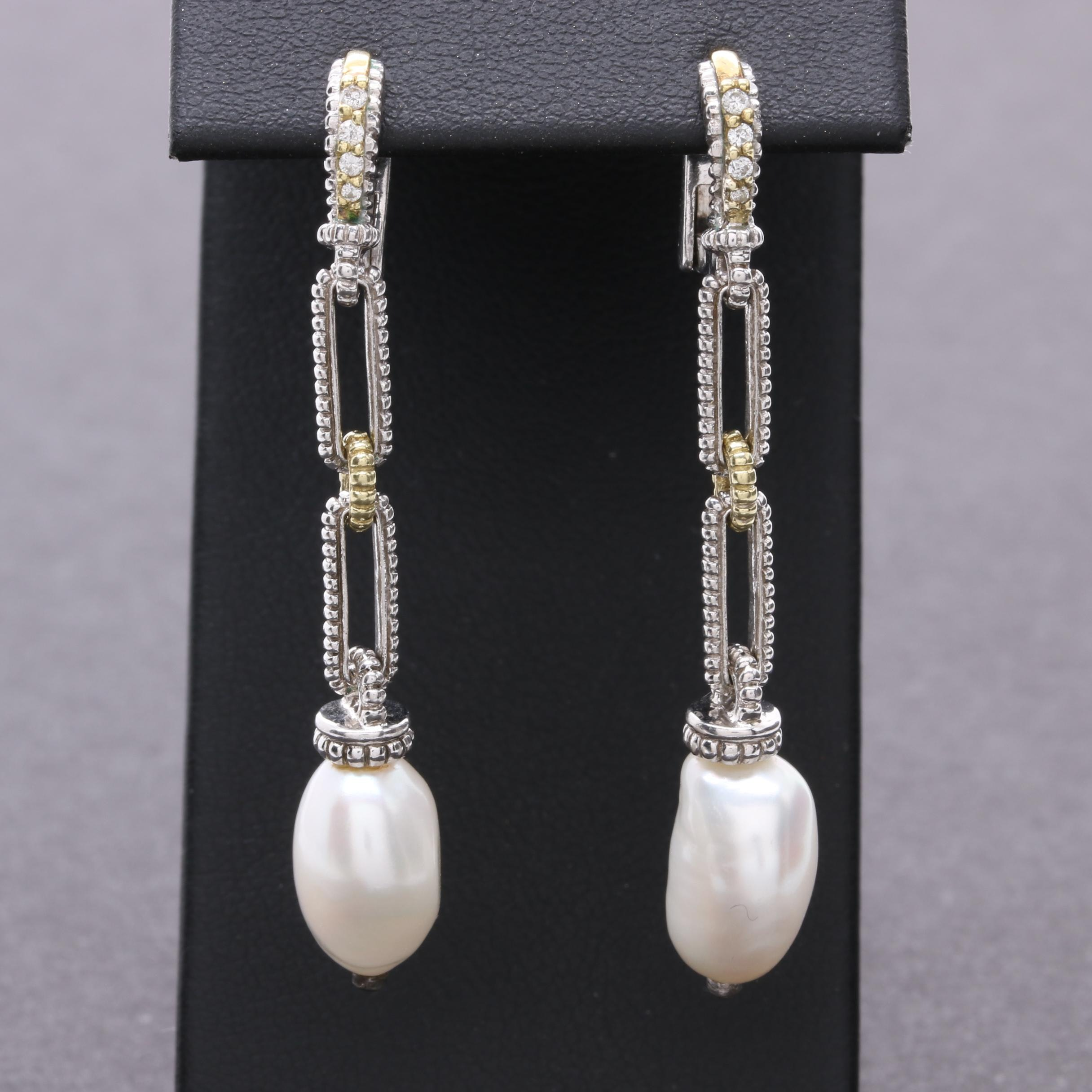 Judith Ripka Sterling Silver and Yellow Gold Cultured Pearl and Diamond Earrings