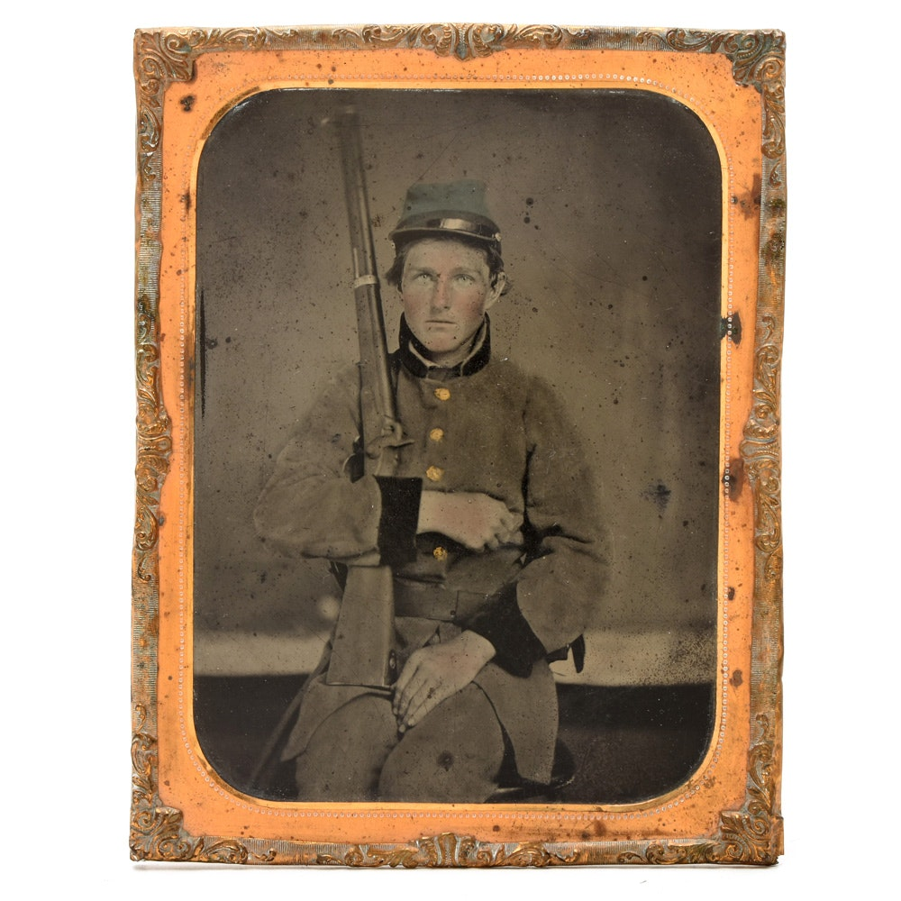 Civil War 1/4 Plate Confederate Soldier Tintype Photograph