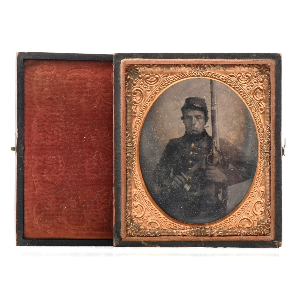 Civil War 1/6 Plate Tintype Of Soldier
