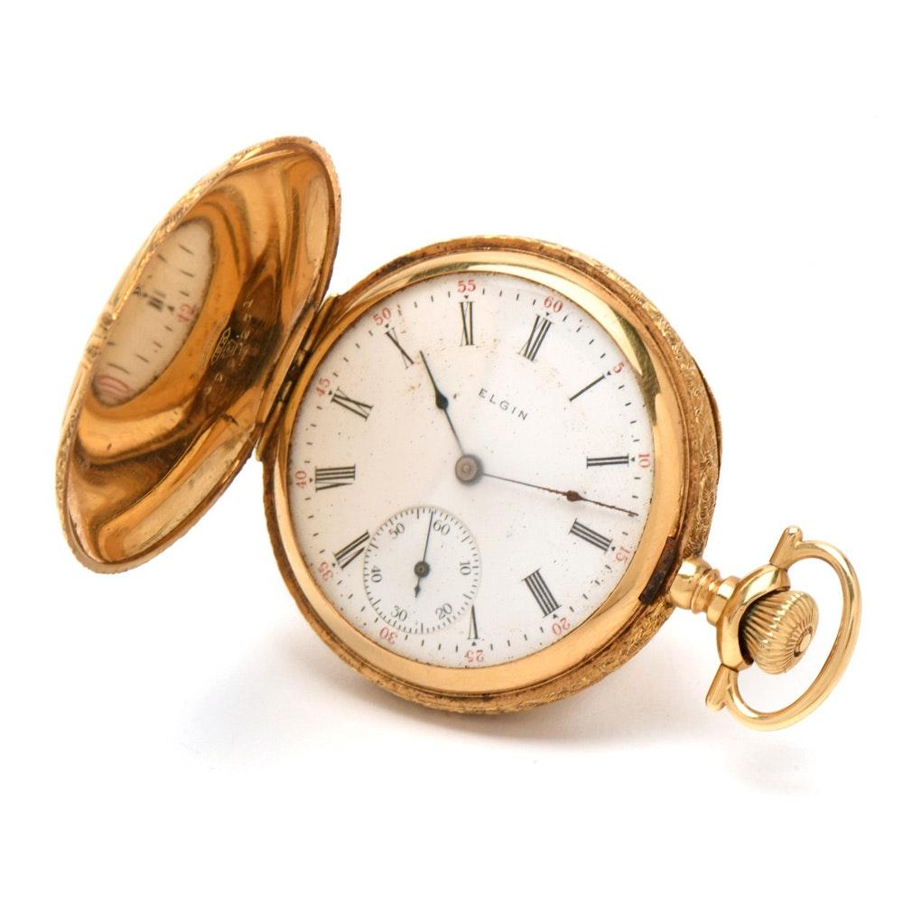 Elgin 18K Yellow Gold Hunting Case Pocket Watch, Circa 1910
