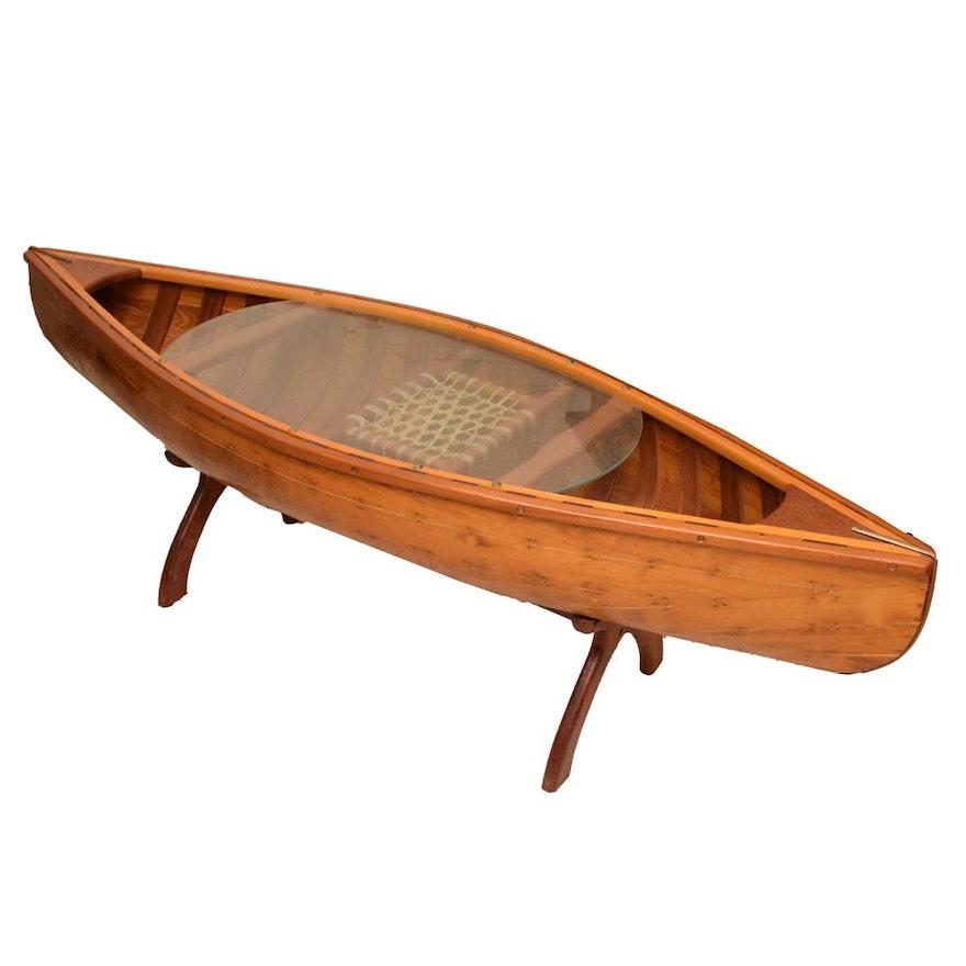 Wooden Canoe Coffee Table Ebth