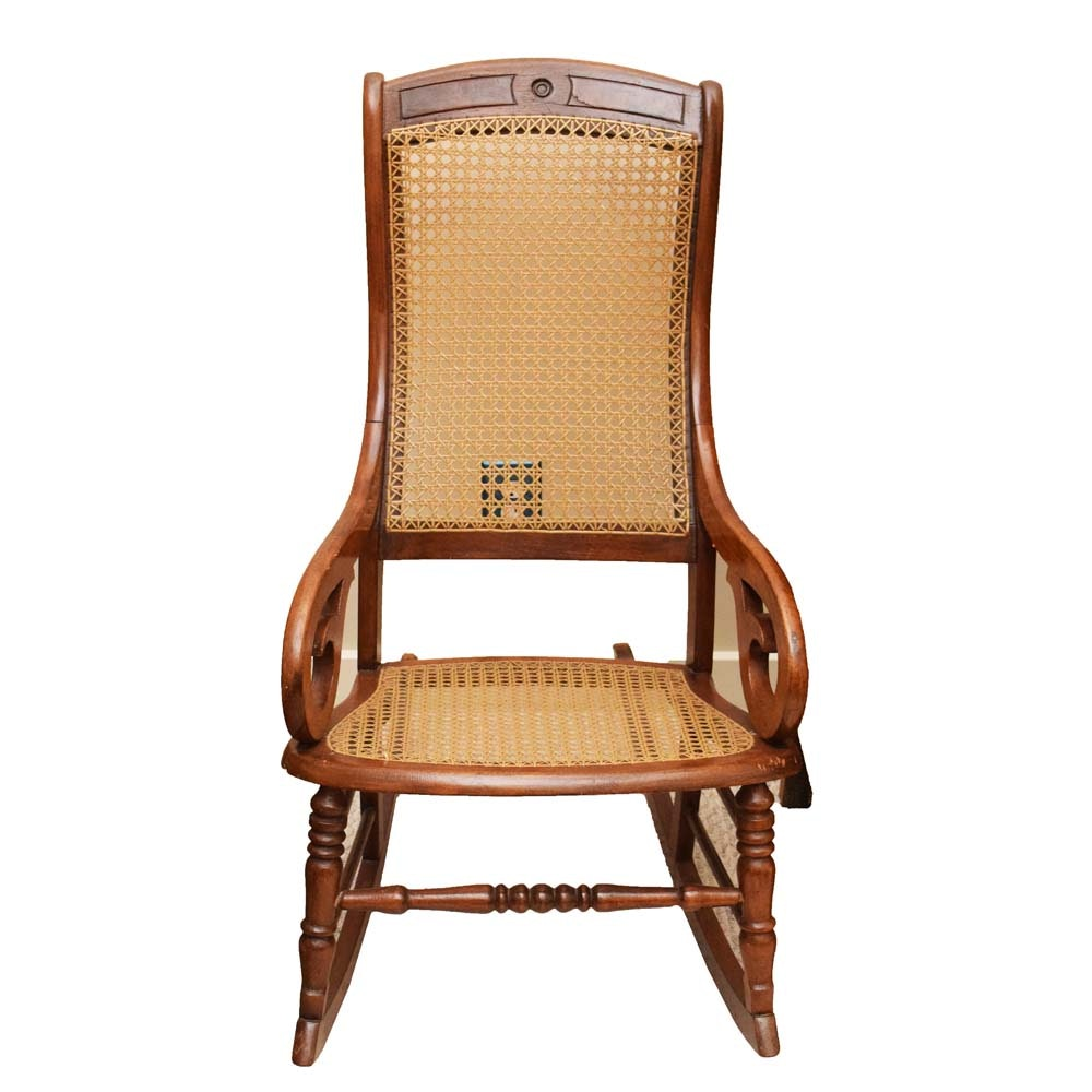 Vintage Cane Back Oak Rocking Chair