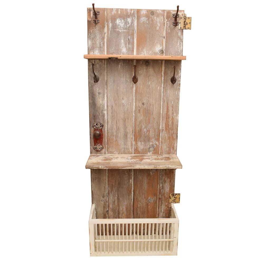 Rustic Repurposed Barn Wood Door Hall Tree
