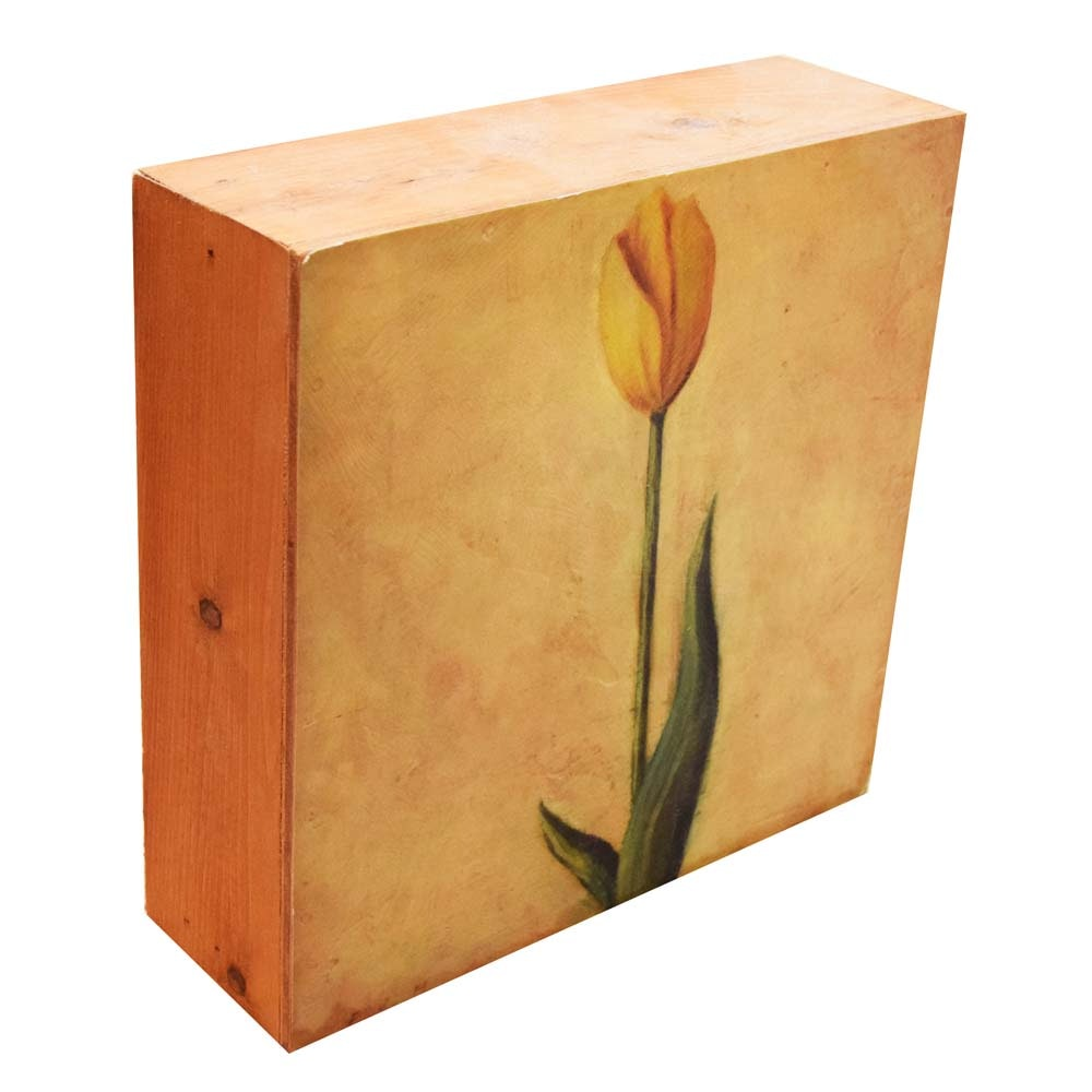 """La Boîte à Tulipes"" Ltd. Edition Wooden Wall Art Cube by Visual Spaces"