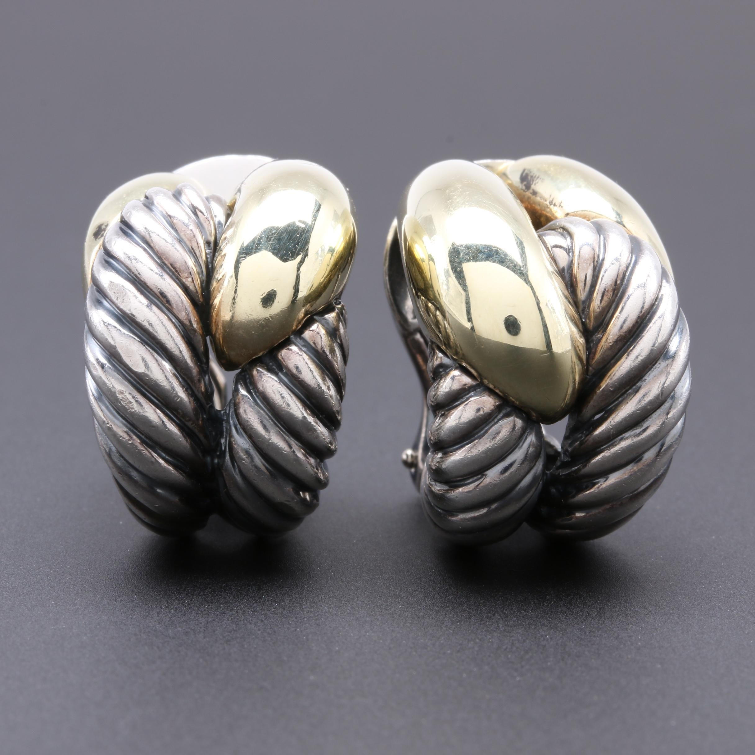 David Yurman Sterling Silver and 14K Yellow Gold Earrings