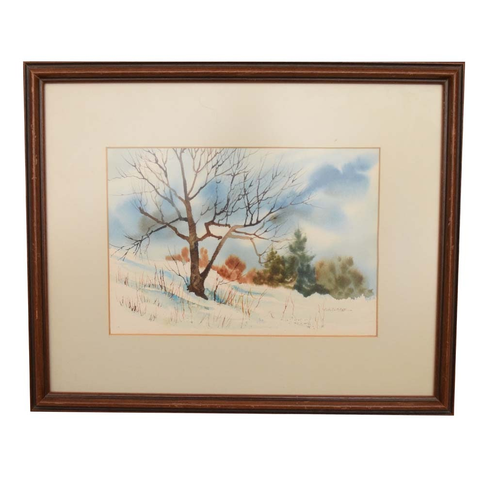 M.A. Clarke Watercolor on Paper Painting of a Winter Landscape