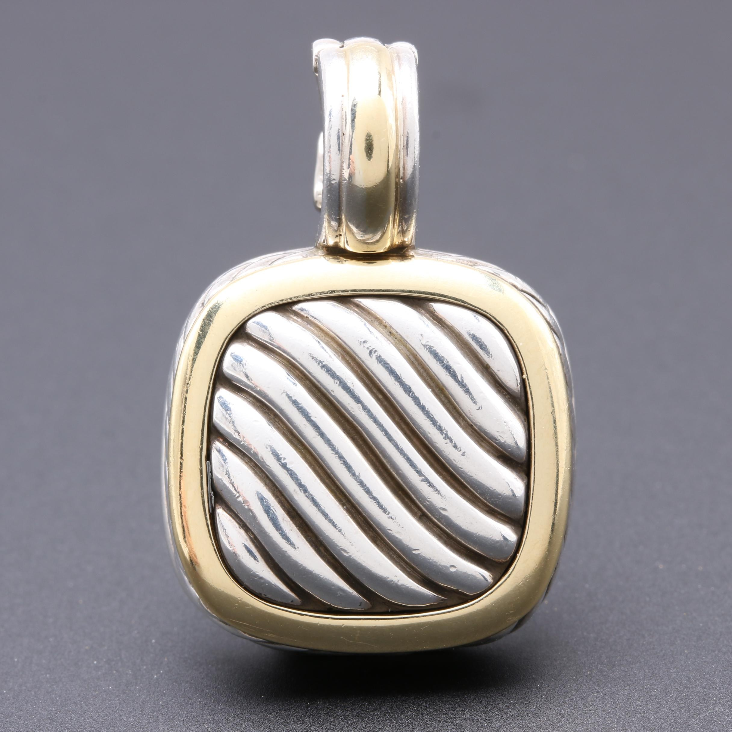 David Yurman Sterling Silver and 18K Yellow Gold Accent Enhancer Pendant
