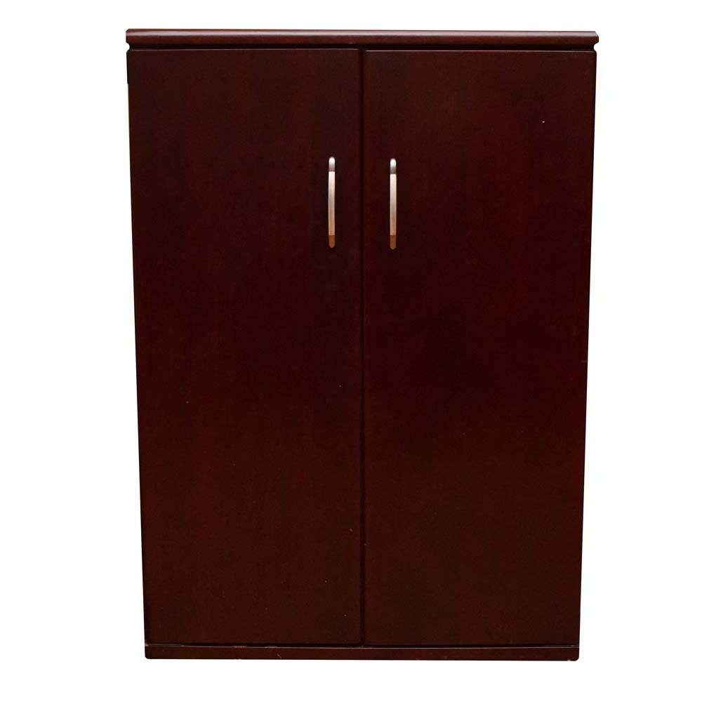 Wine Enthusiast Cherry Finish Chilled Wine Cabinet