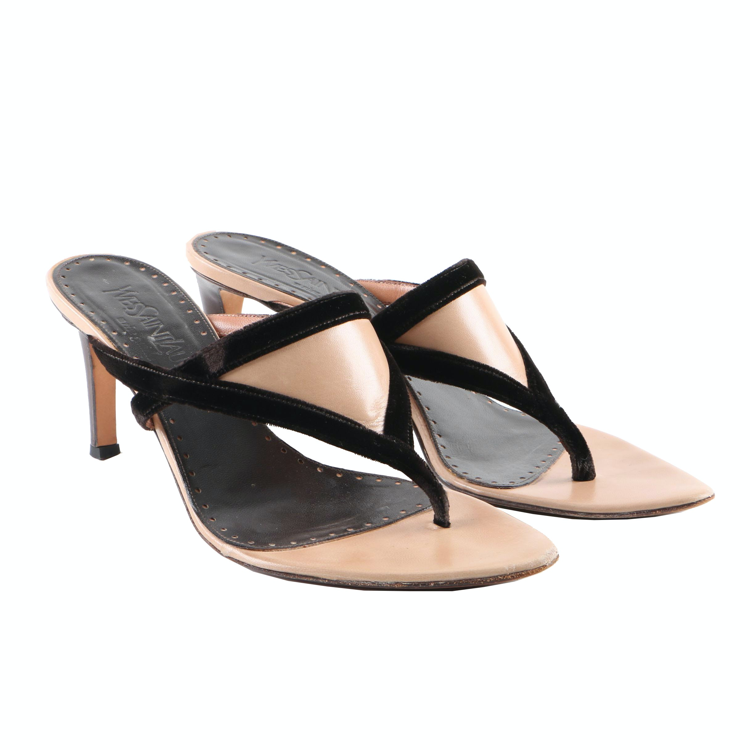 Yves Saint Laurent Beige Leather High-Heeled Sandals with Brown Velveteen Trim