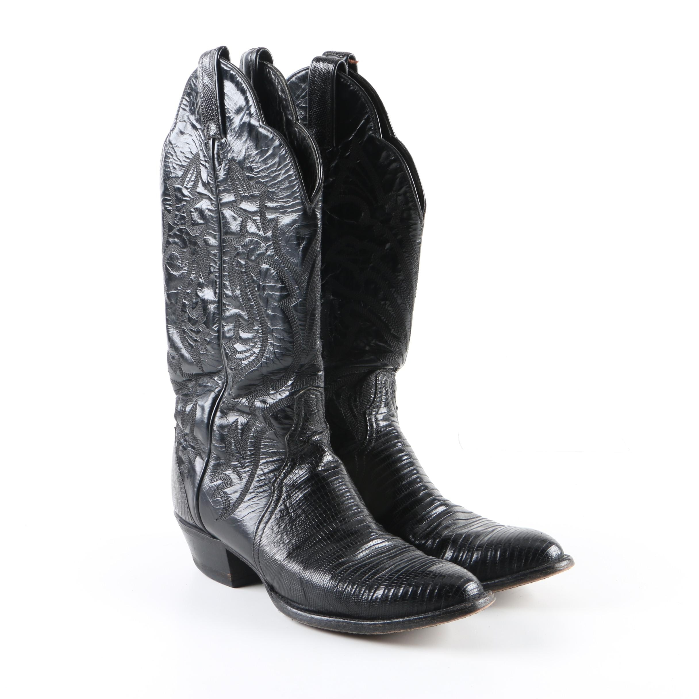 Women's Tony Lama Black Leather Cowgirl Western Boots