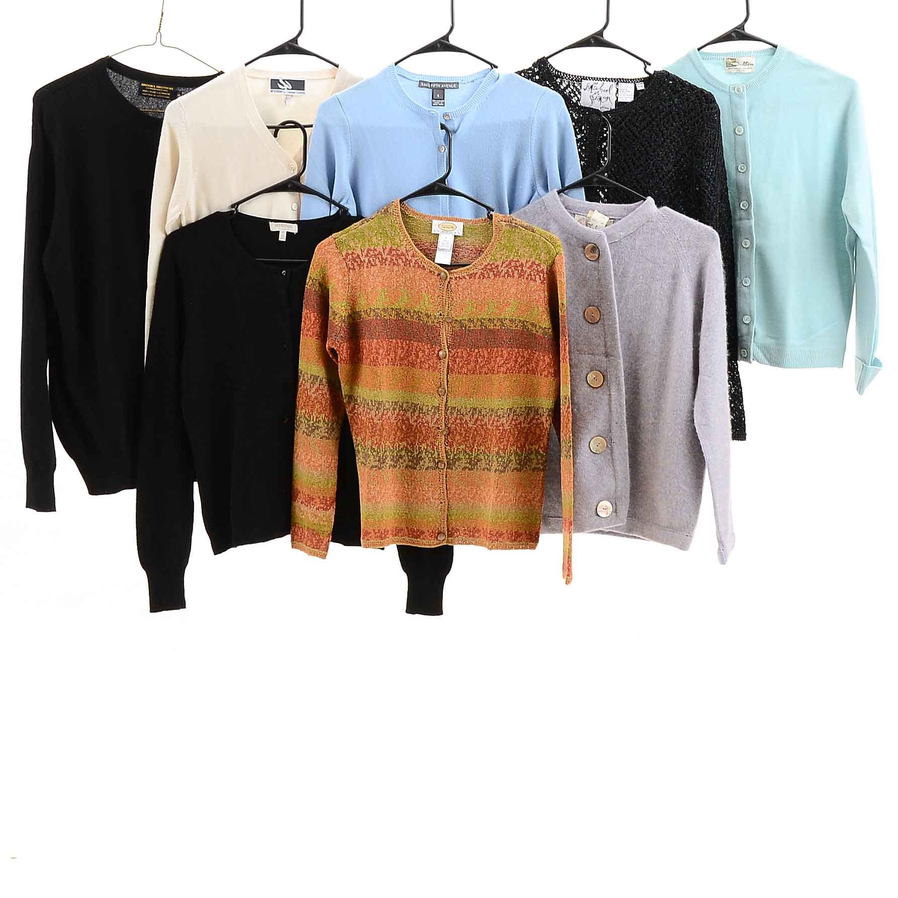 Collection of Women's Designer Cardigans Including Talbots and Brooks Brothers