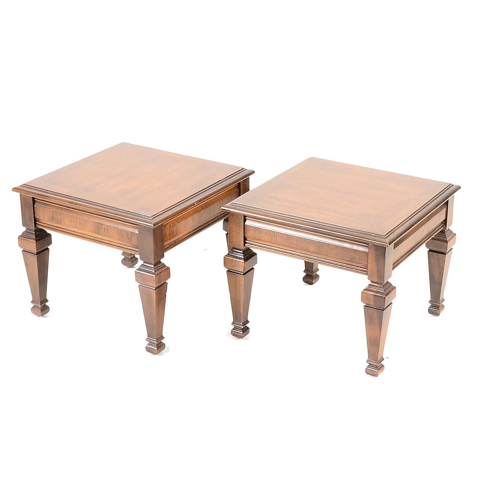 Pair of Lane Pecan End Tables and a Travertine Top