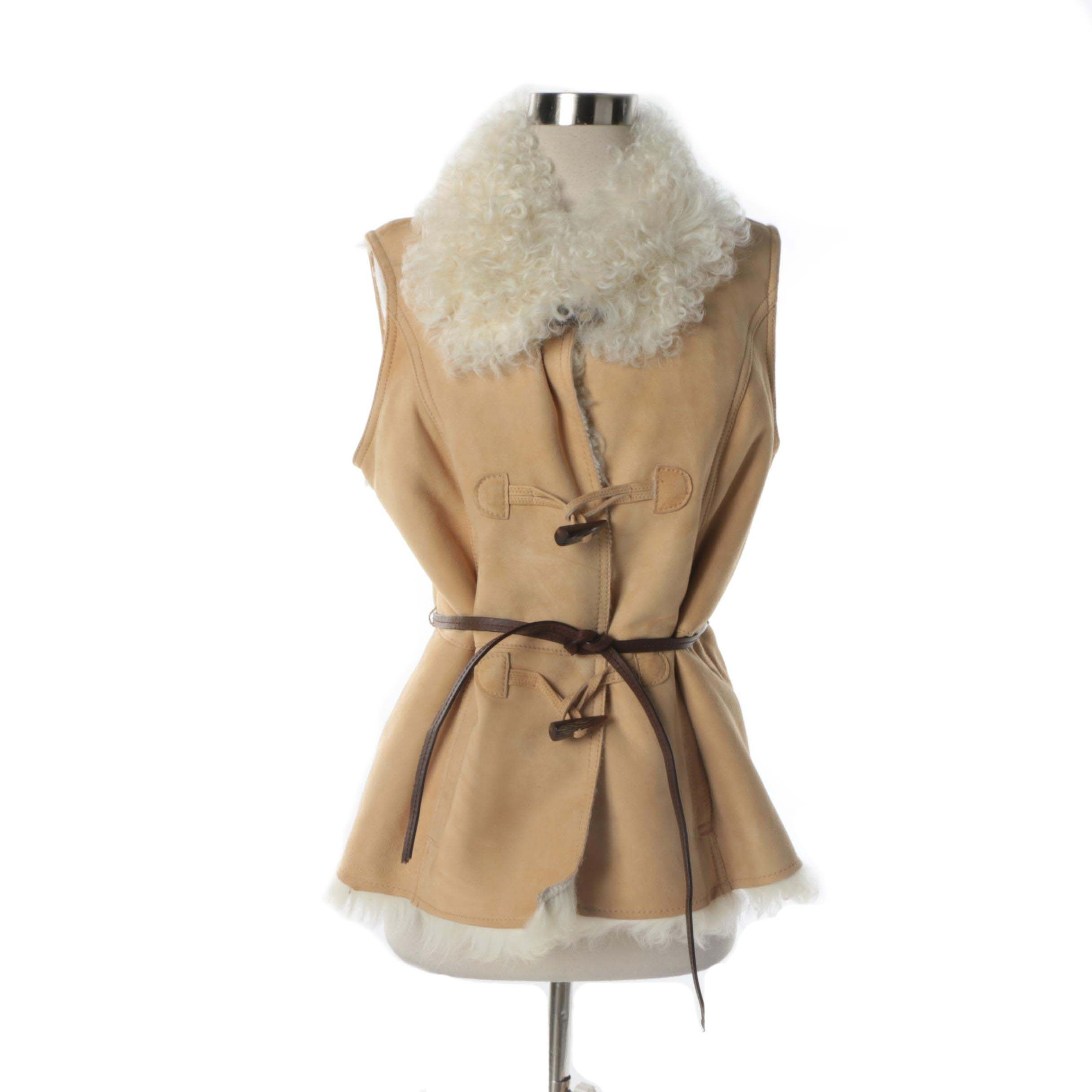 Women's Eddie Bauer Tan Sheepskin Vest