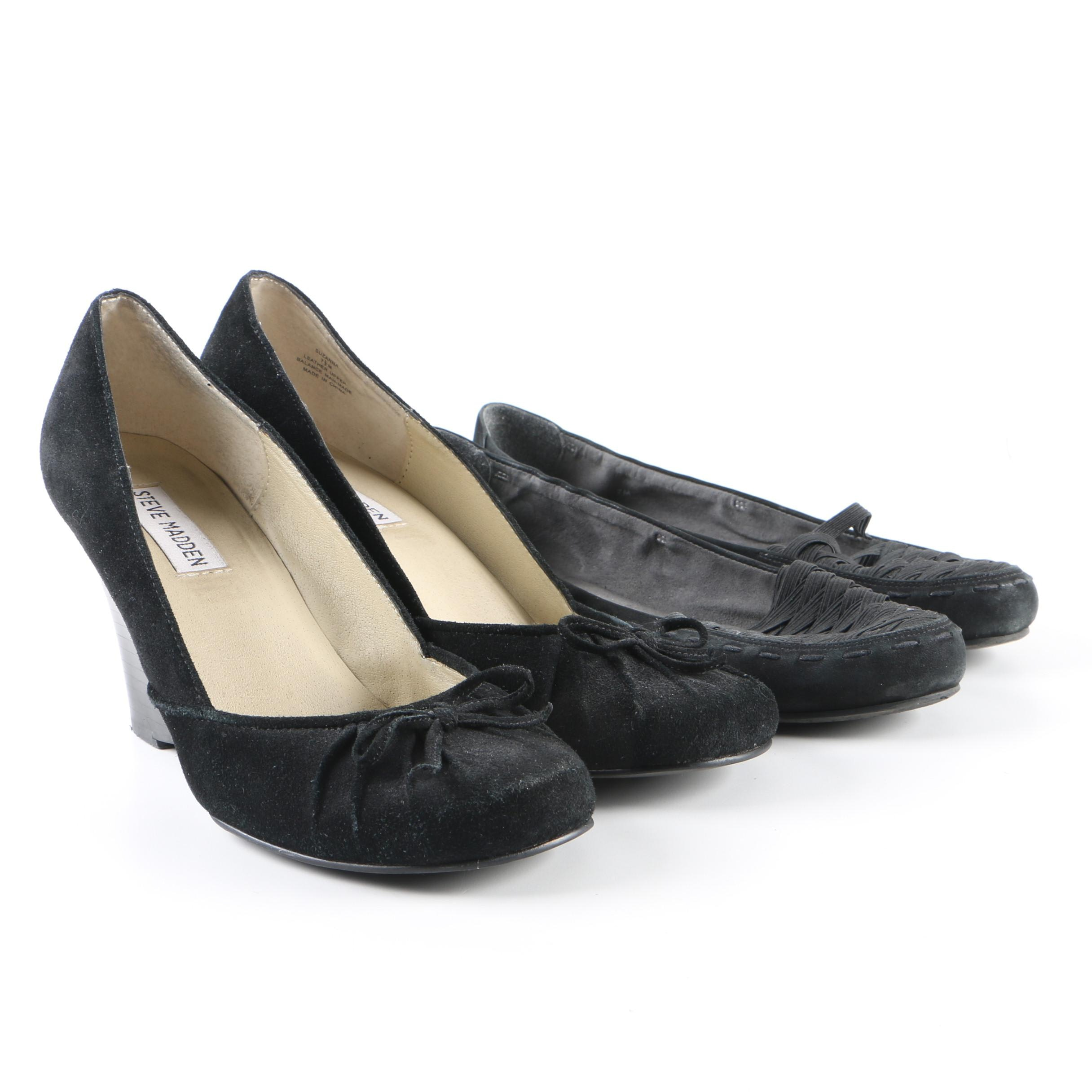 Women's Black Suede Steve Madden Wedges and Stuart Weitzman Loafers