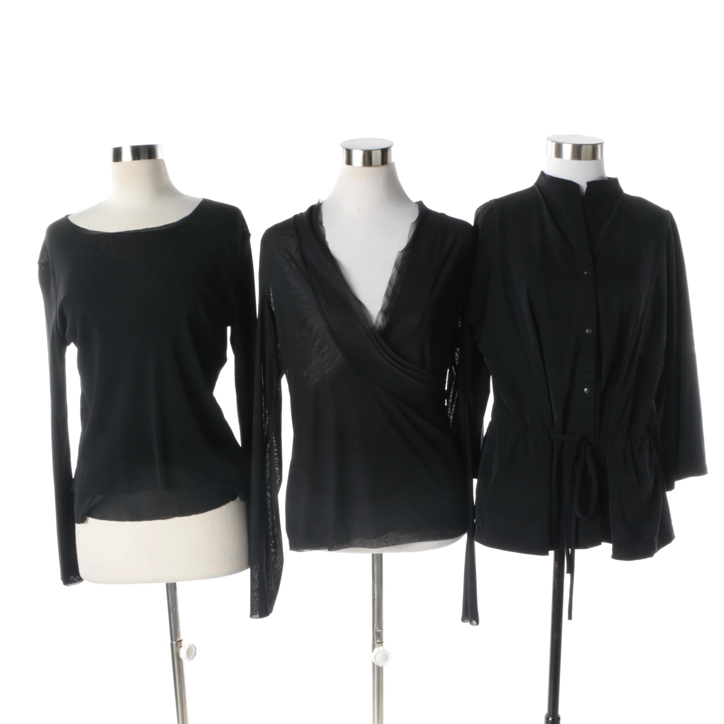 Women's Babette and Marie Saint Pierre Black Long Sleeve Tops