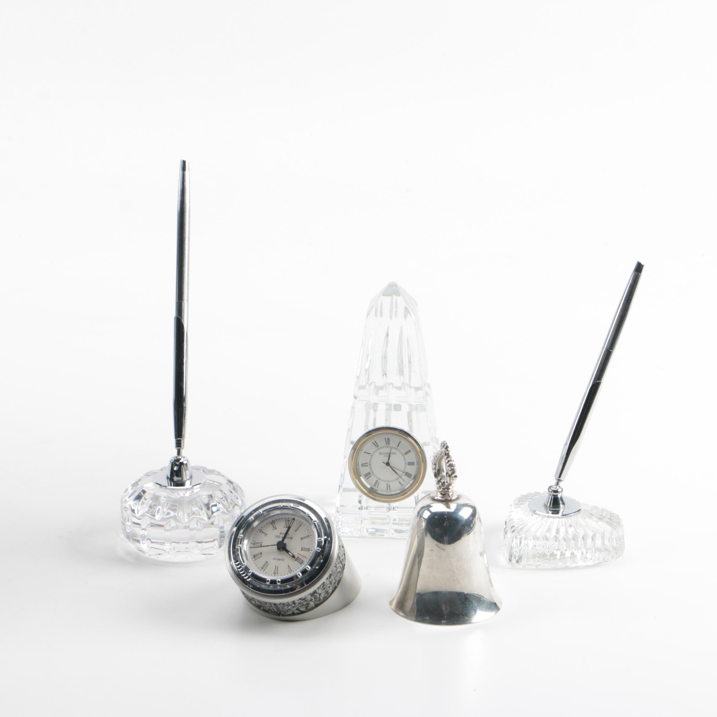 Waterford Crystal Obelisk Clock and Pen Holders with Pewter Royal Selangor Clock