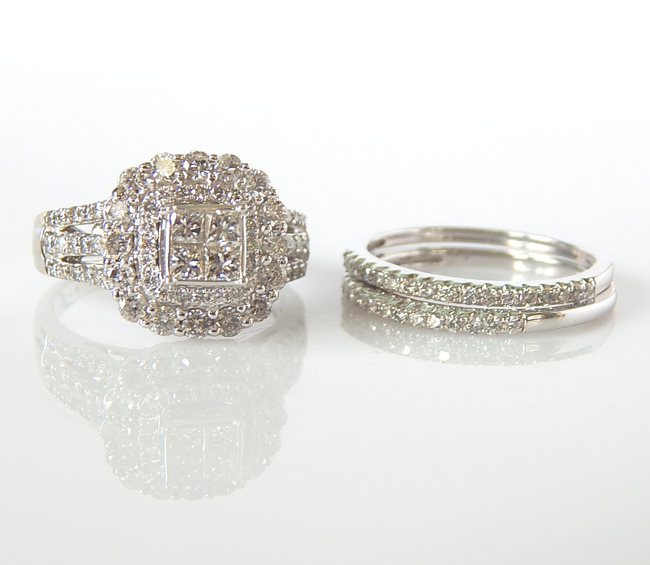 14K White Gold 2.54 CTW Diamond Wedding Set with One Engagement and Two Bands