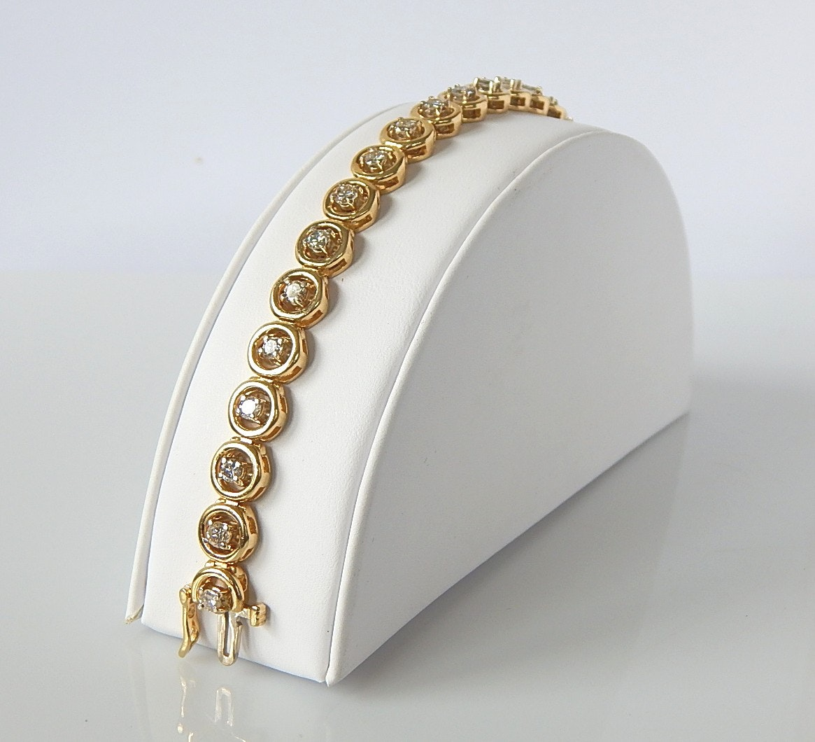 14K Yellow Gold 2.99 CTW Diamond Tennis Bracelet