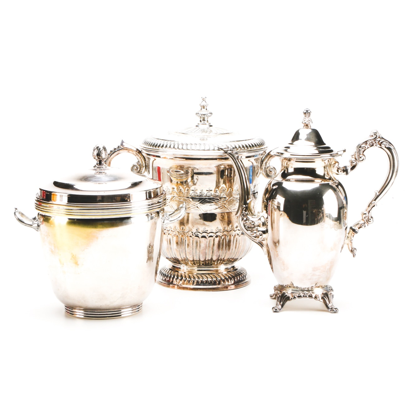 Silverplate Ice Buckets and Coffee Dispenser