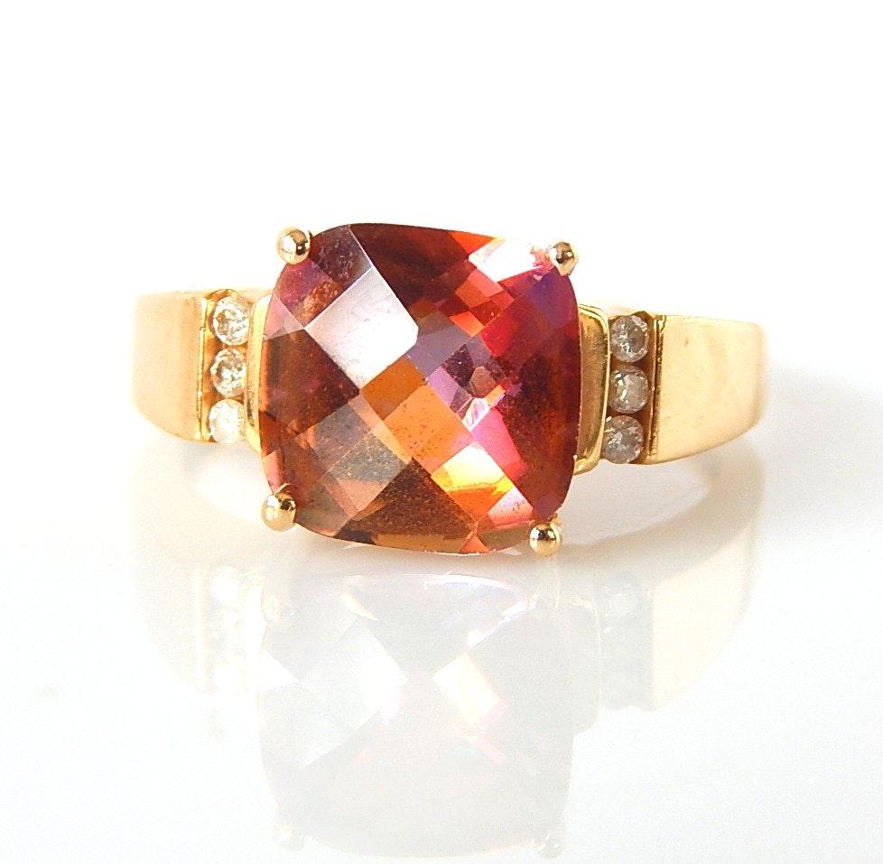 10K Yellow Gold Mystic Topaz and Diamond Ring