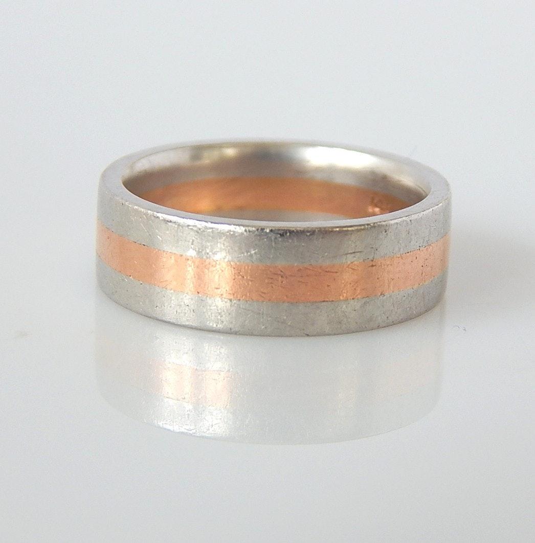 14K Rose Gold and Platinum Band Ring