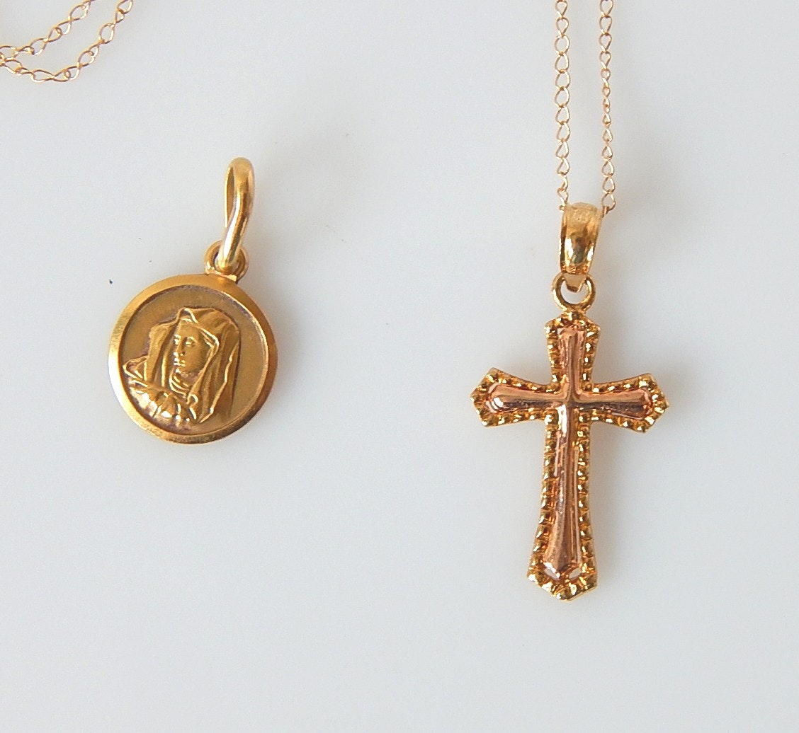 18K Yellow Gold Religious Pendant and 14K Chain Necklace and Cross Pendant