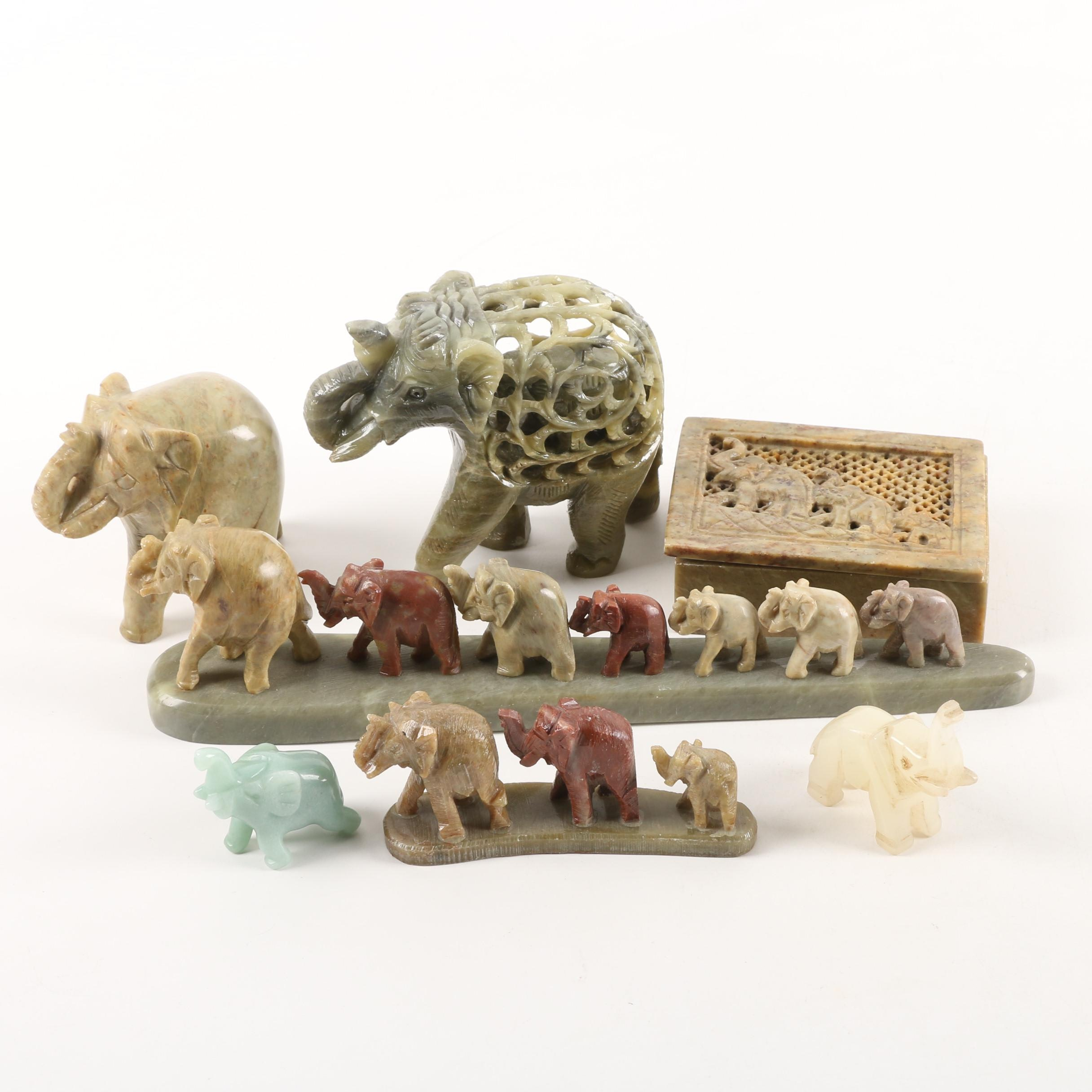 Vintage Carved Stone Elephant Figurines and Trinket Box