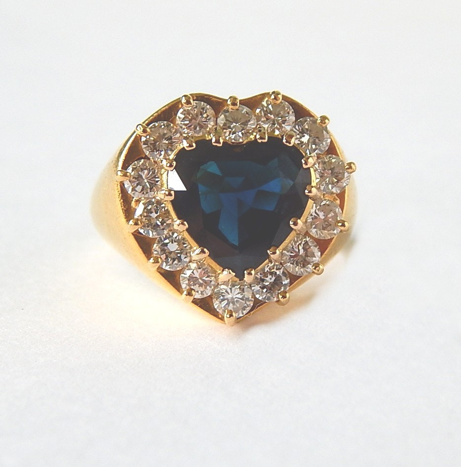 18K Yellow Gold 3.40 CT Blue Sapphire and 1.40 CTW Diamond Ring