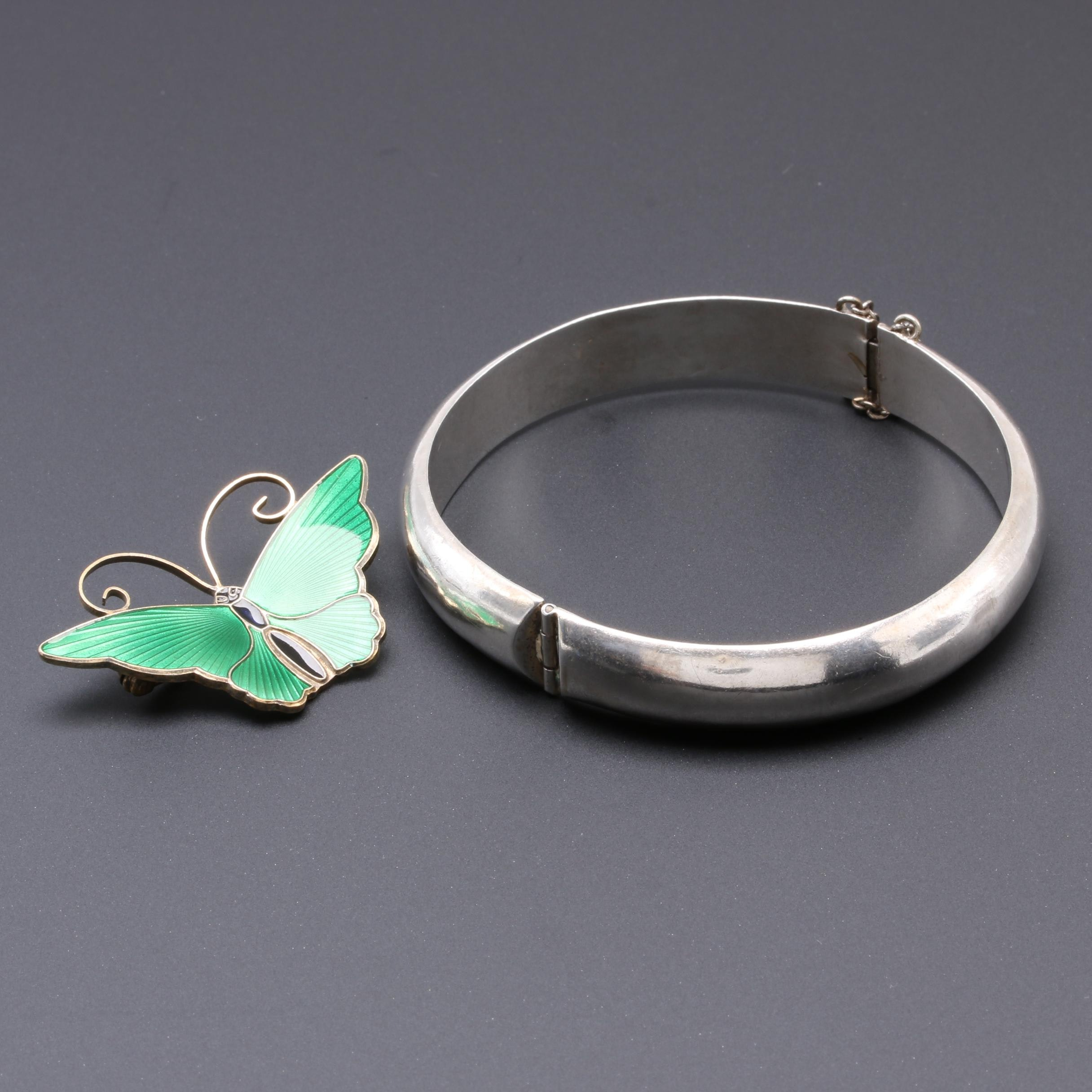 Sterling Bracelet and Butterfly Pin Including Mexico Silver and David Anderson
