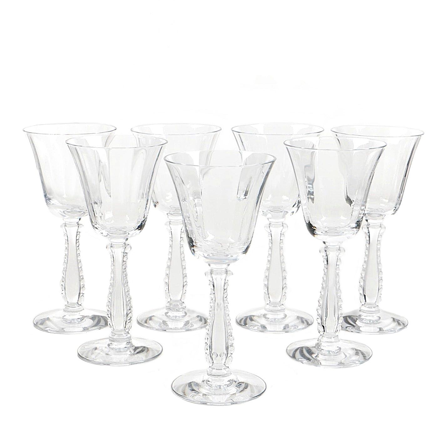 "Fostoria ""Silver Flutes"" Claret Wine Glasses"