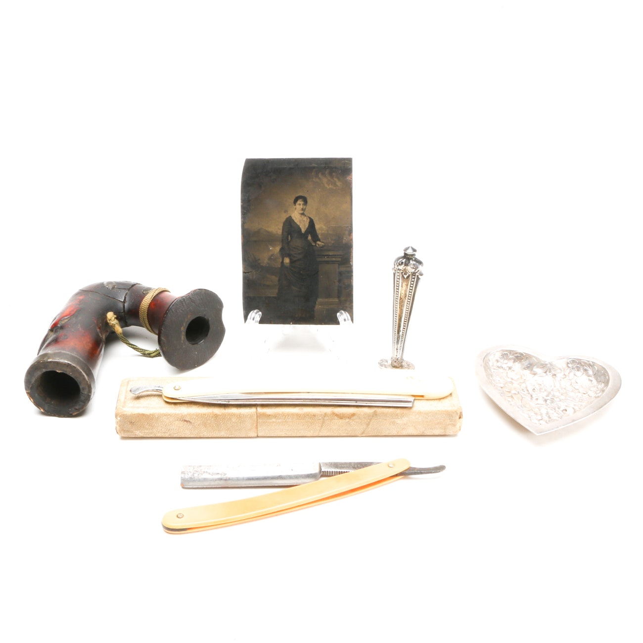 Antique Tintype, Straight Razors, Sterling Wax Seal, and More