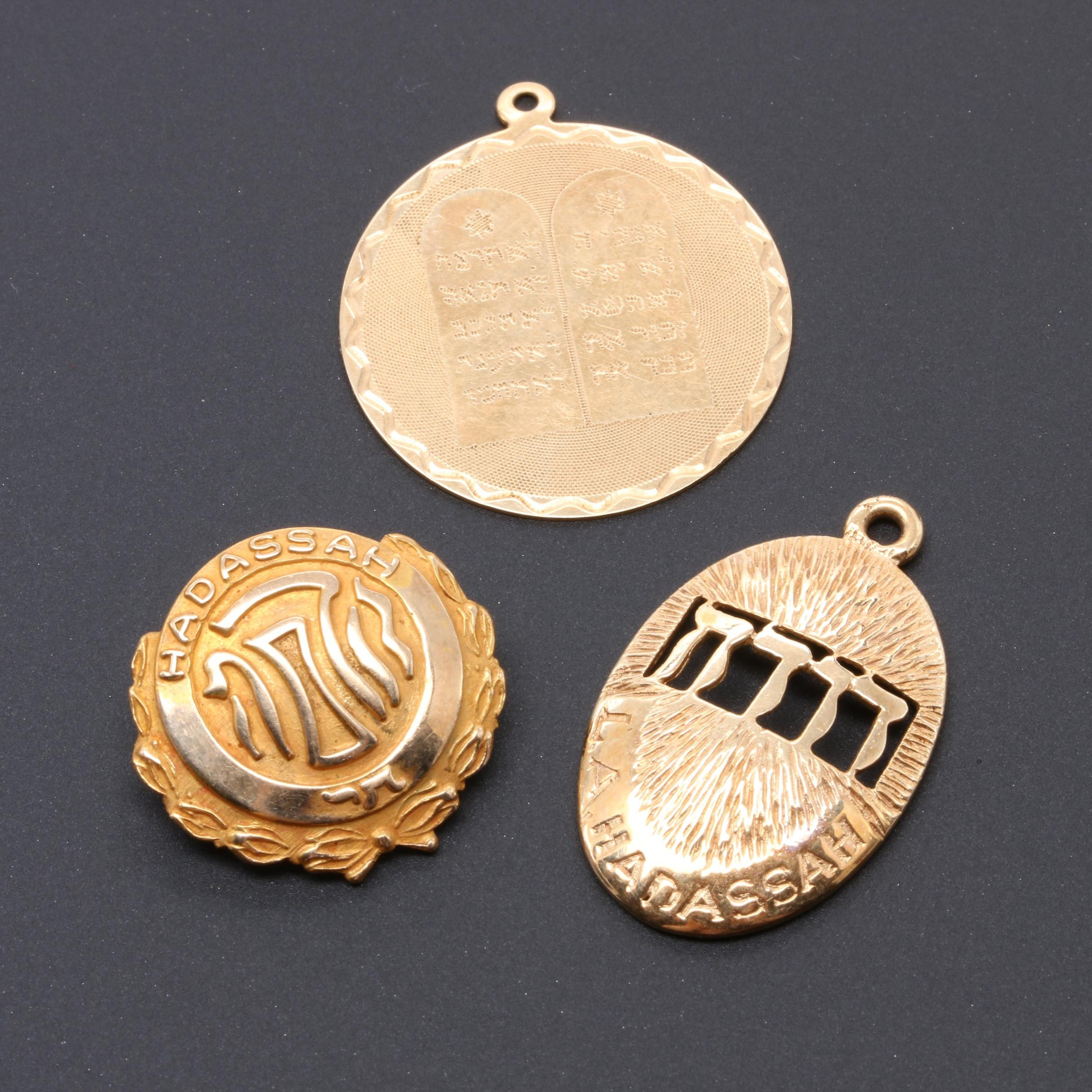10K and 14K Yellow Gold Pendant and Pin Selection