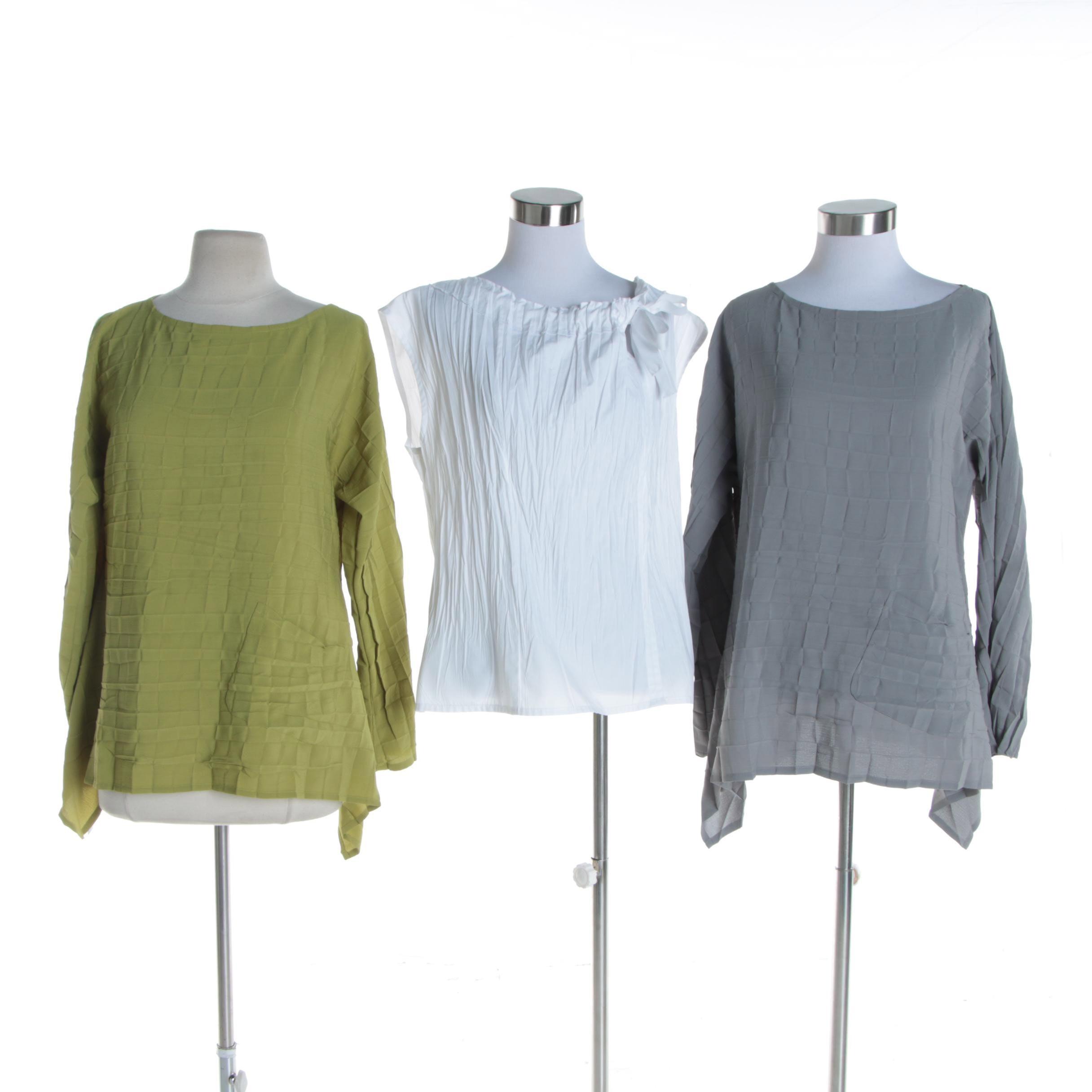Women's Babette Sleeveless and Long Sleeve Crinkle Tops