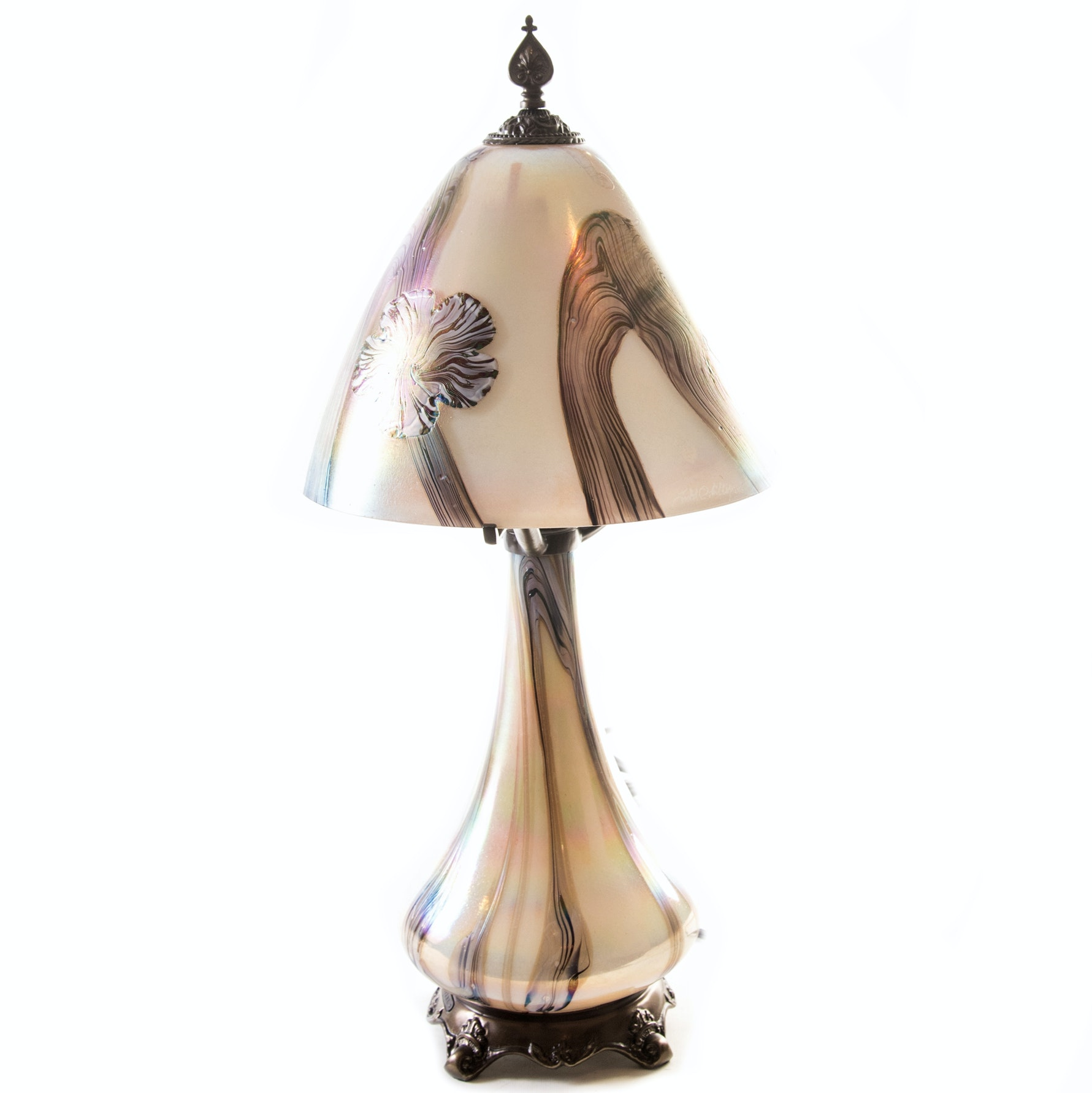 Floral Iridescent Glass Lamp by Todd Phillips For Quoizel, Inc.