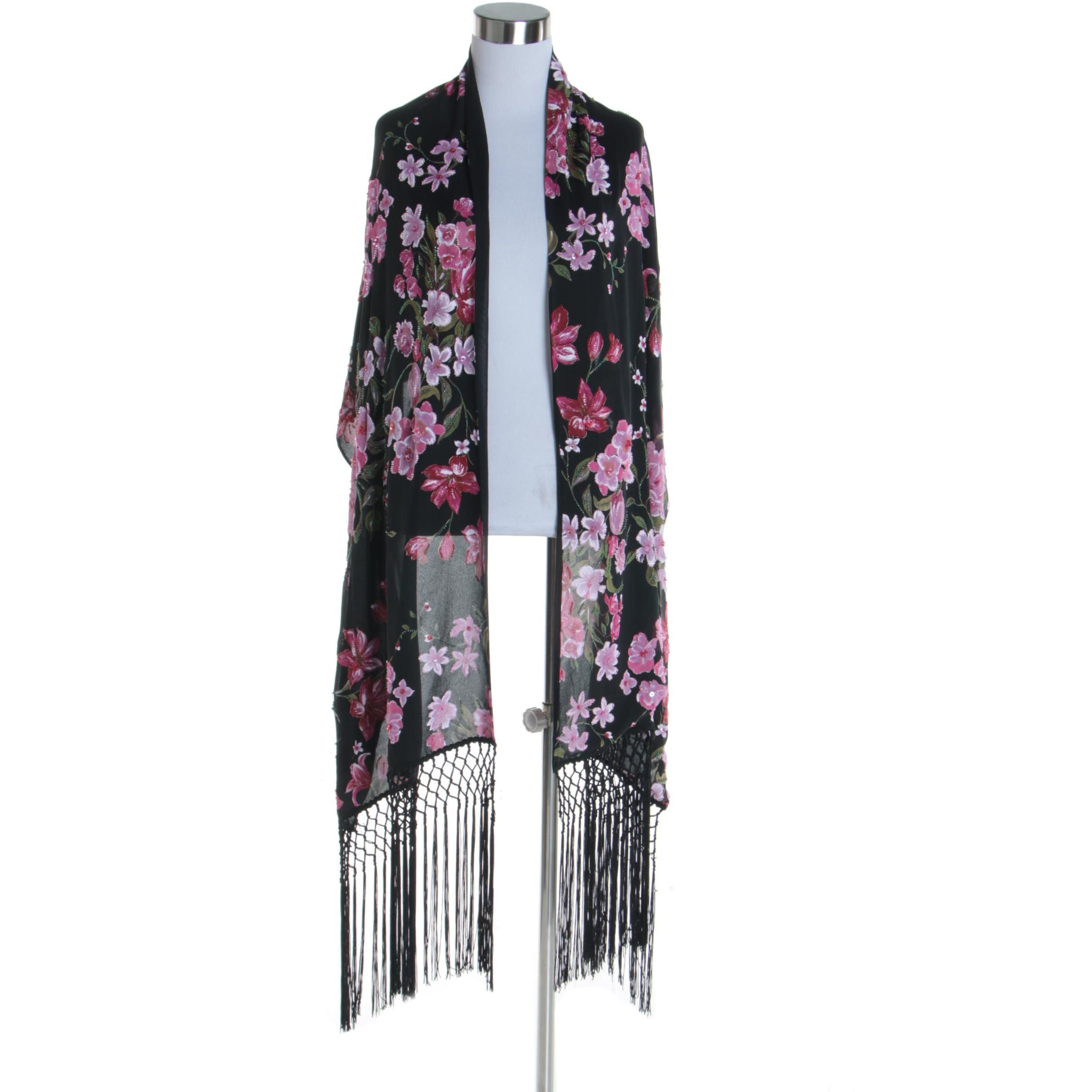 Women's Black Poly-Blend Floral Embellished Wrap with Hand-Knotted Fringe