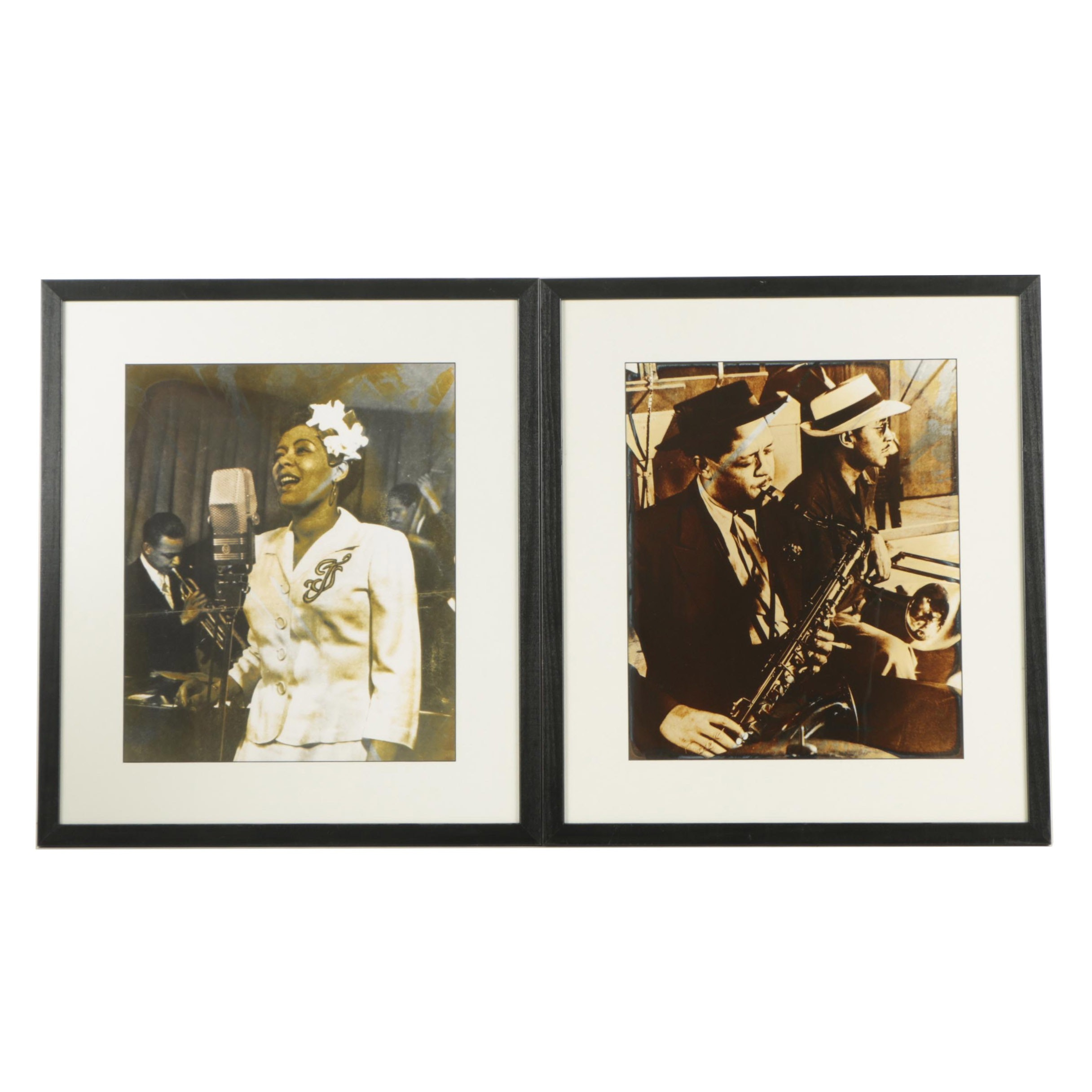 Silver Print Portraits of Billie Holiday and Lester Young