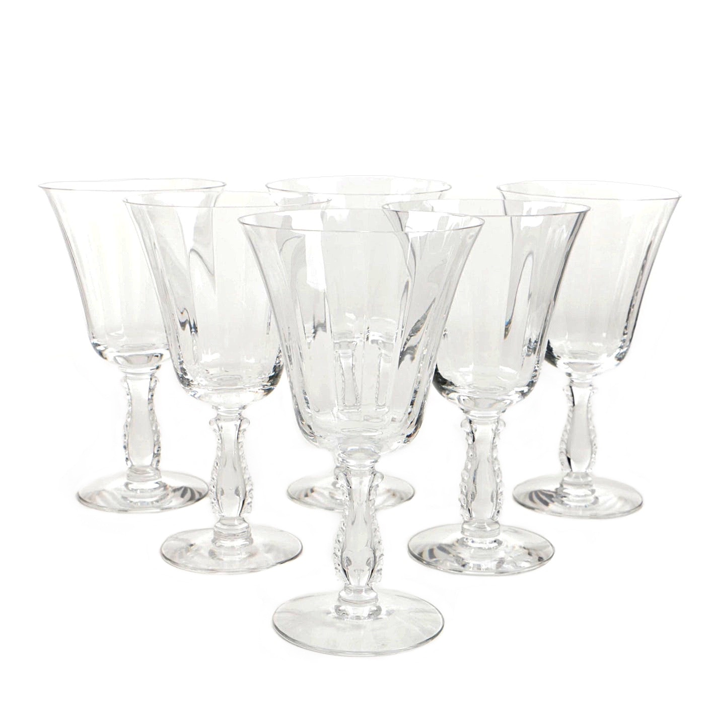 """Fostoria """"Silver Flutes"""" Low Water Goblets"""