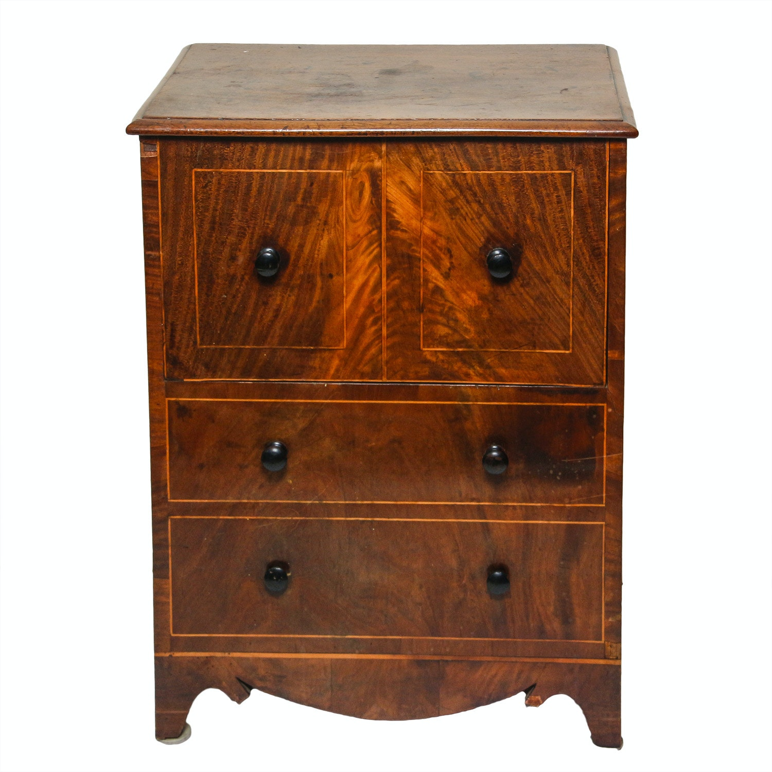 Antique Flame Veneered Commode Cabinet ...