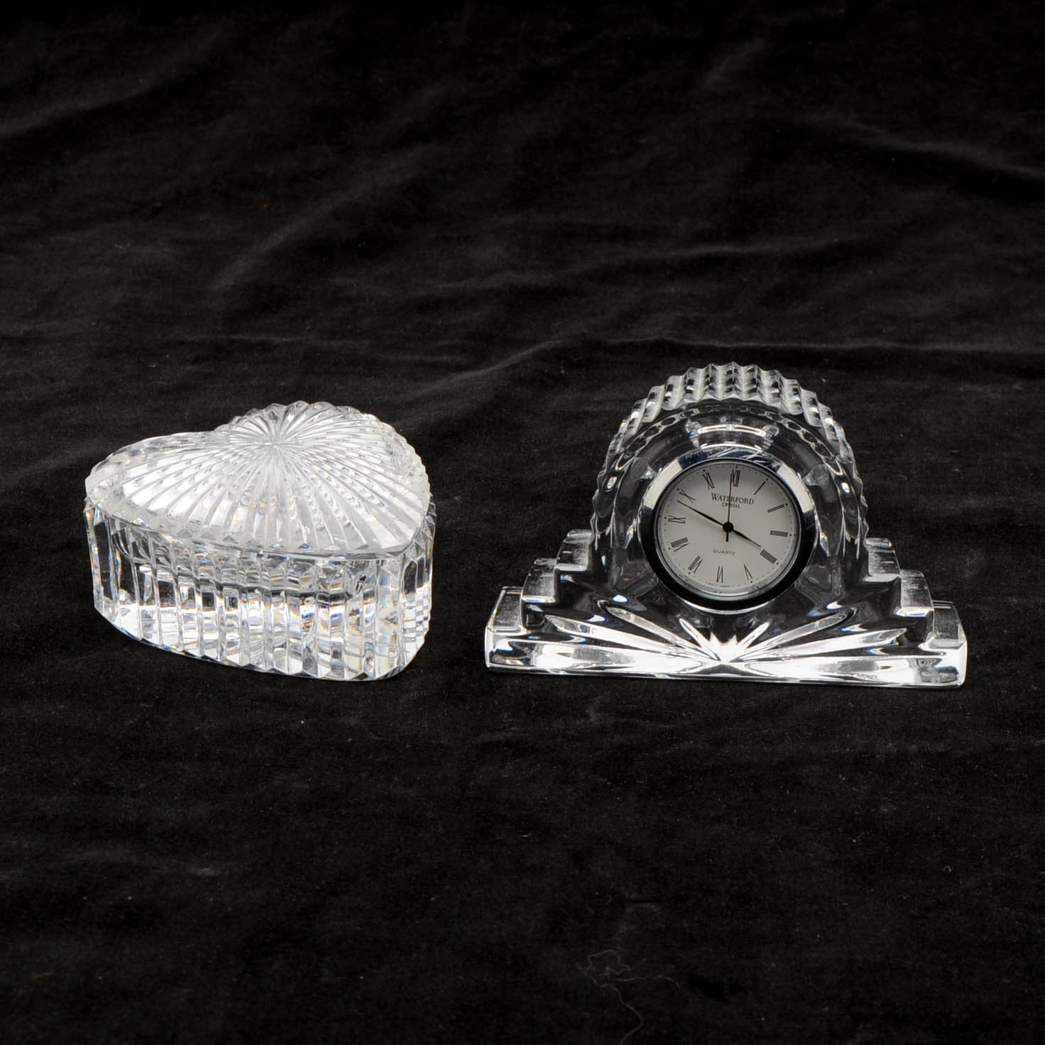 Waterford Crystal Trinket Box and  Miniature  Mantle Clock
