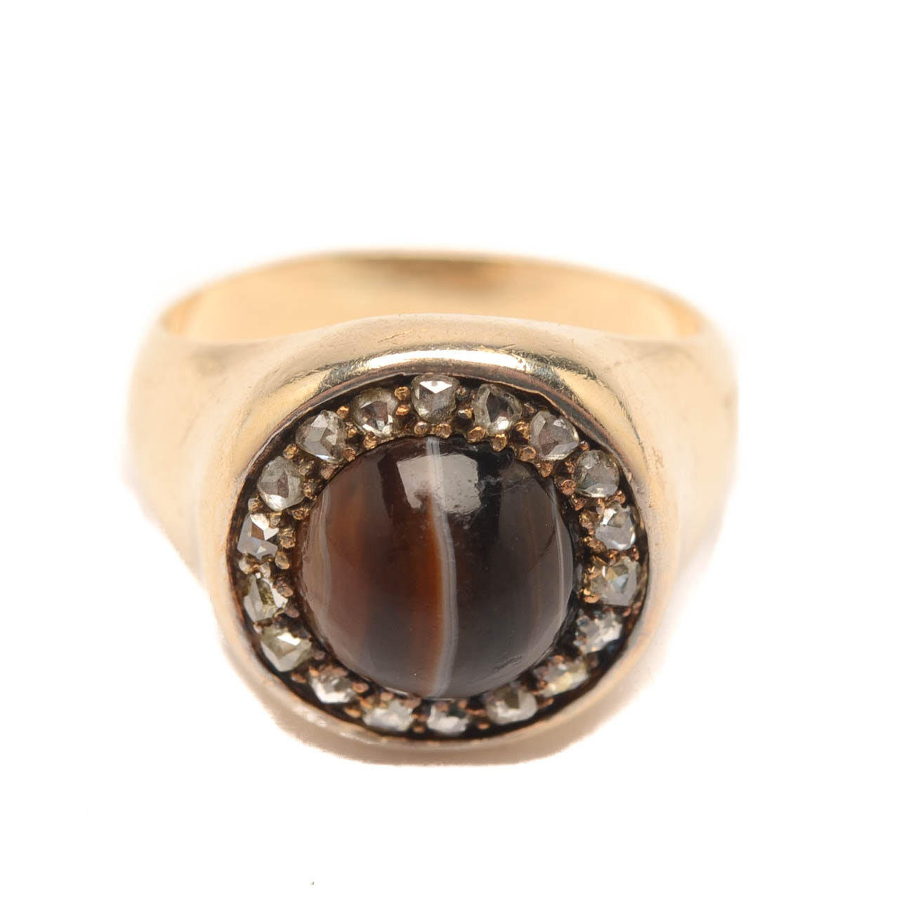 Victorian 14K Yellow Gold Agate and Diamond Ring