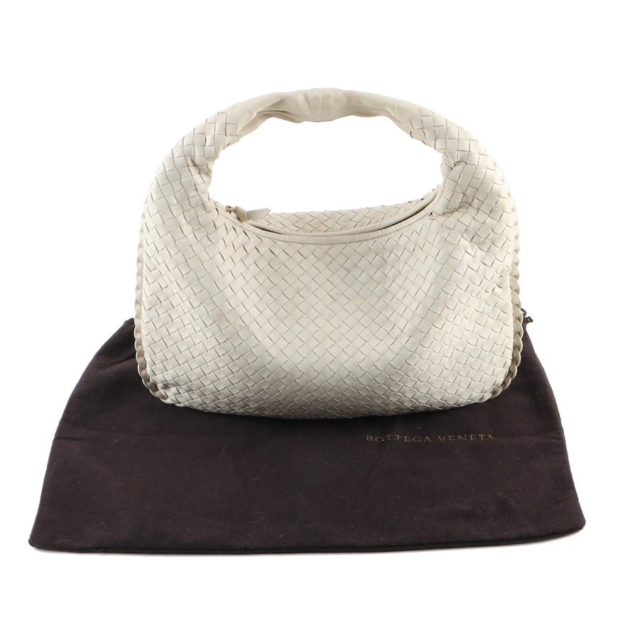 Bottega Intrecciato Veneta White Woven Leather Hobo Bag   EBTH a5320bd319d63