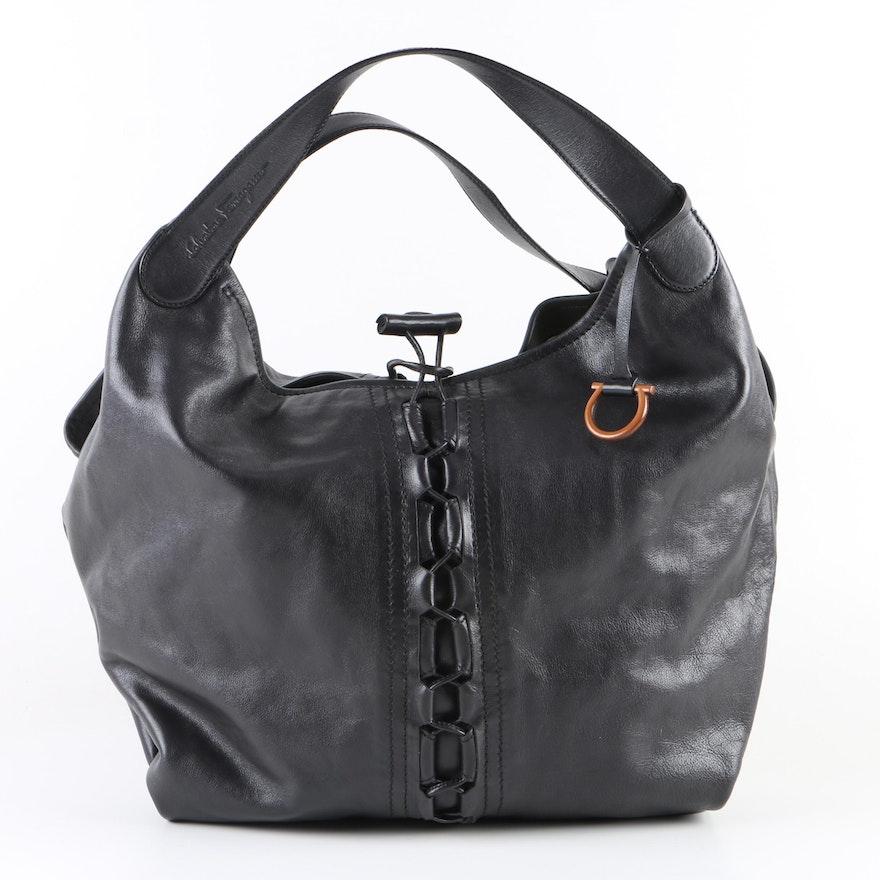 8ad8df7a52 Salvatore Ferragamo Ecological Line Black Leather Handbag   EBTH