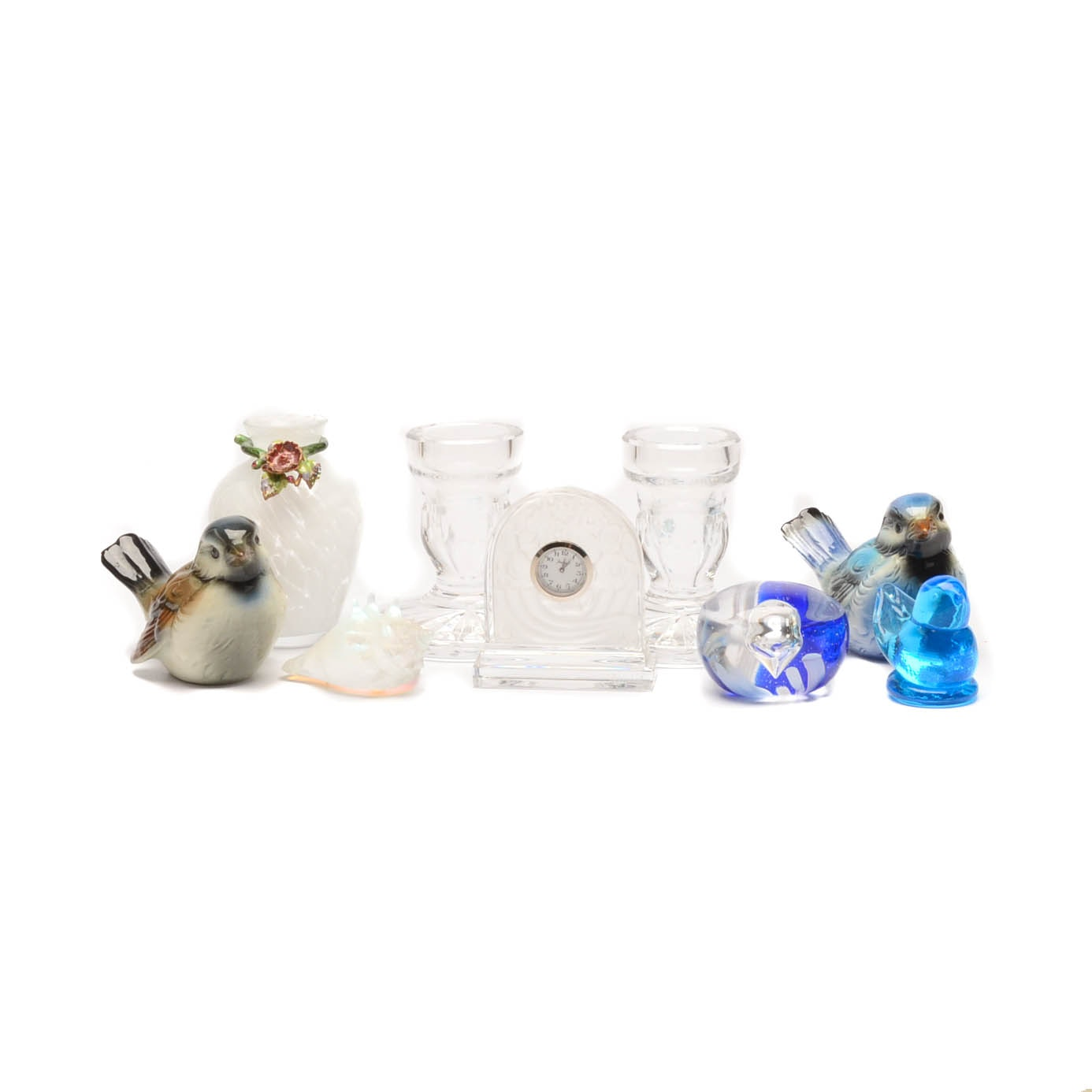 Assorted Mid-Century Crystal Glass, Art Glass, and Figurines