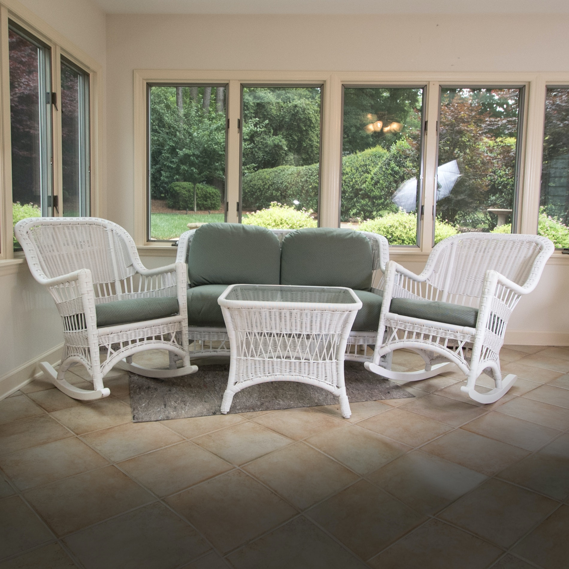 White Patio Furniture Set with Custom Upholstery